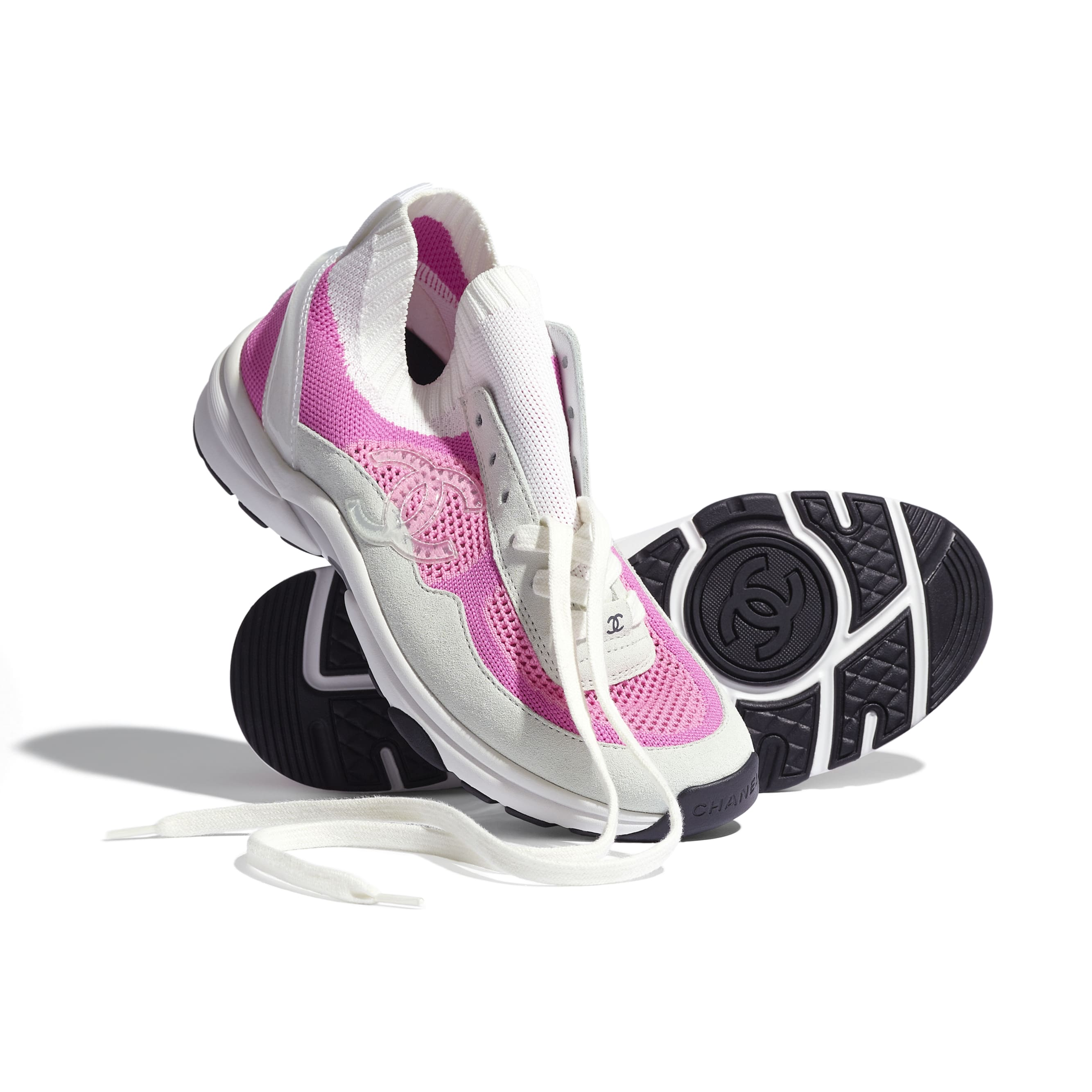 Trainers - White & Pink - Fabric & Suede Calfskin - CHANEL - Extra view - see standard sized version