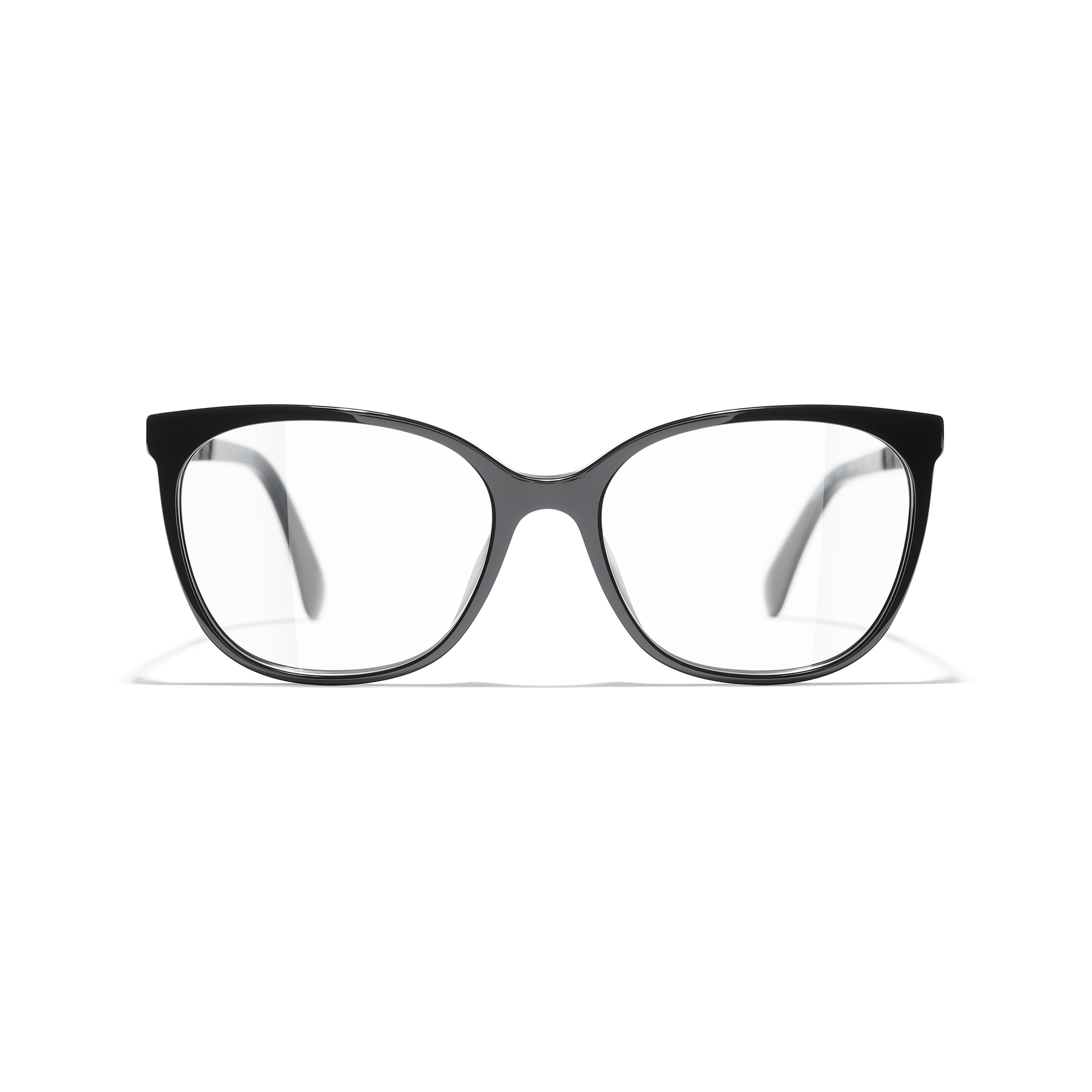 Square Eyeglasses - Black - Acetate & Metal - CHANEL - Alternative view - see standard sized version