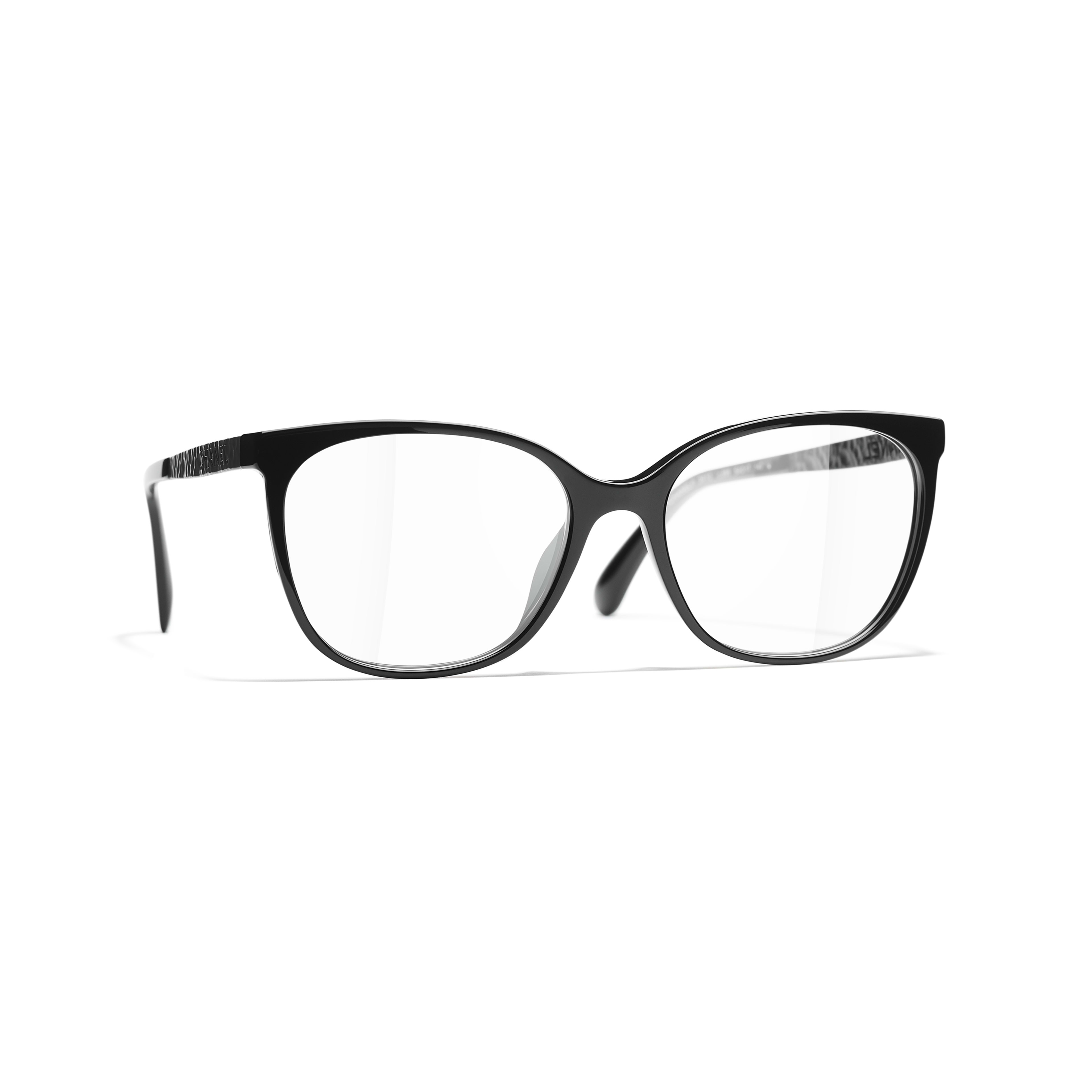 Square Eyeglasses - Black - Acetate & Metal - CHANEL - Default view - see standard sized version