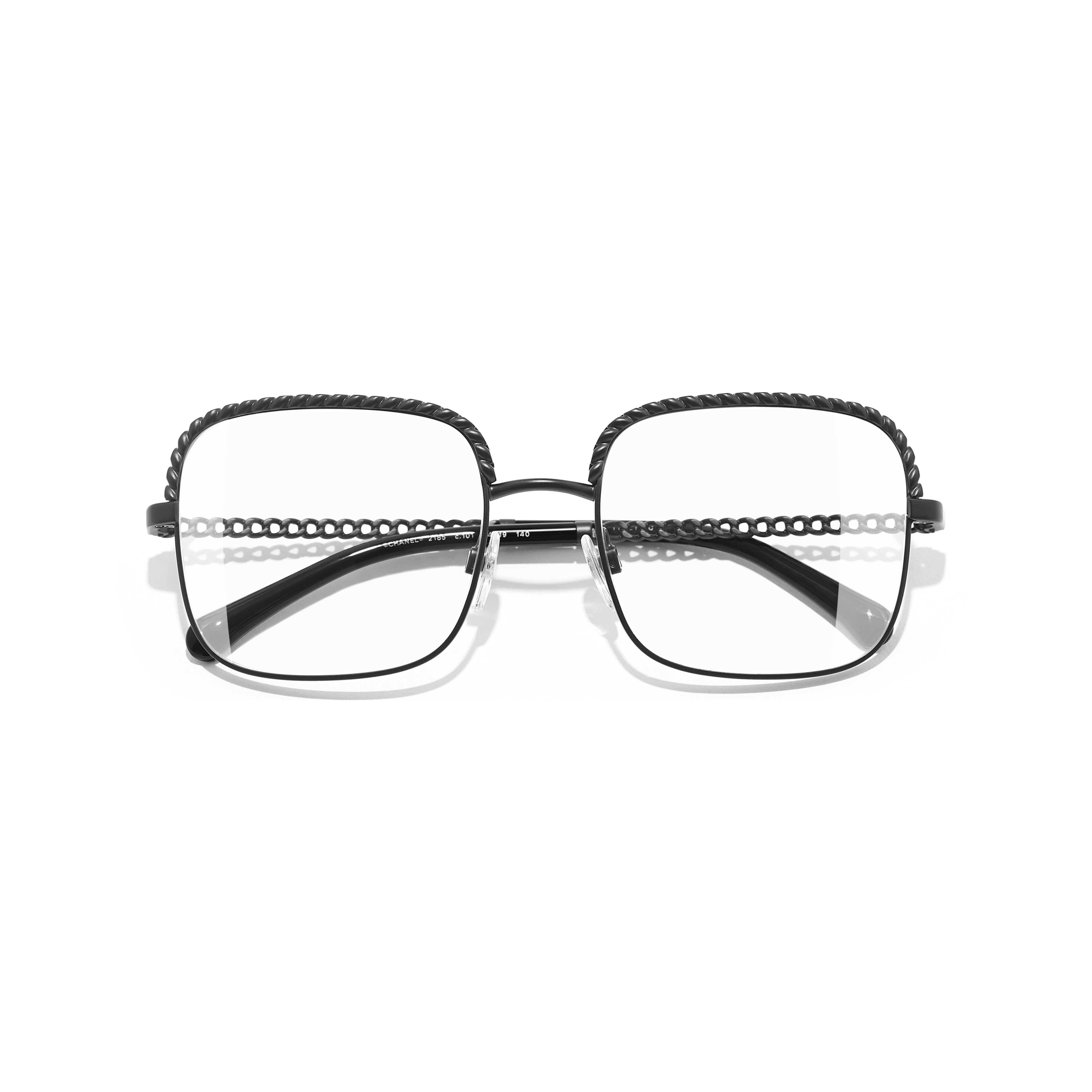 Square Eyeglasses - Black - Metal - Extra view - see standard sized version