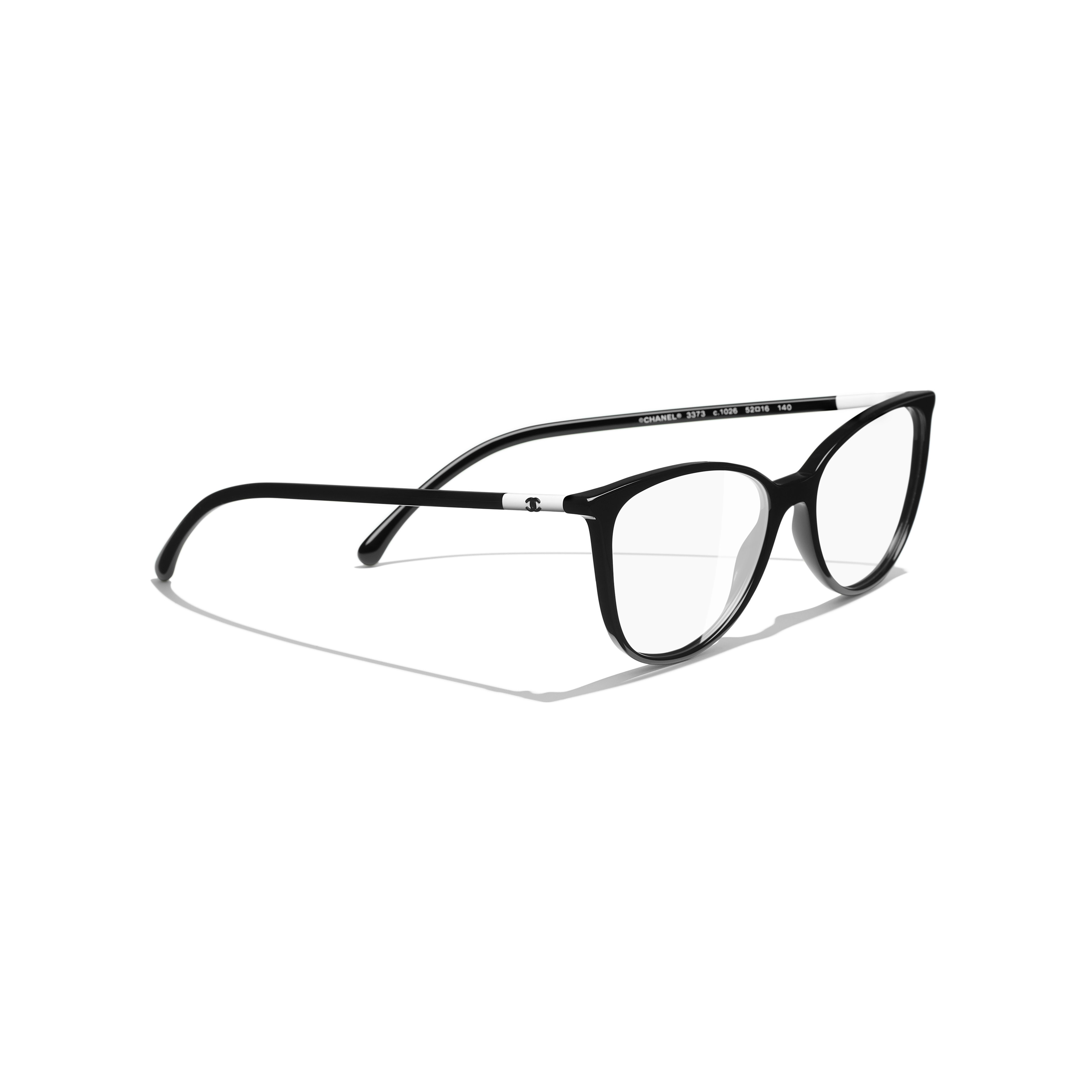 Square Eyeglasses - Black & White - Acetate - CHANEL - Extra view - see standard sized version