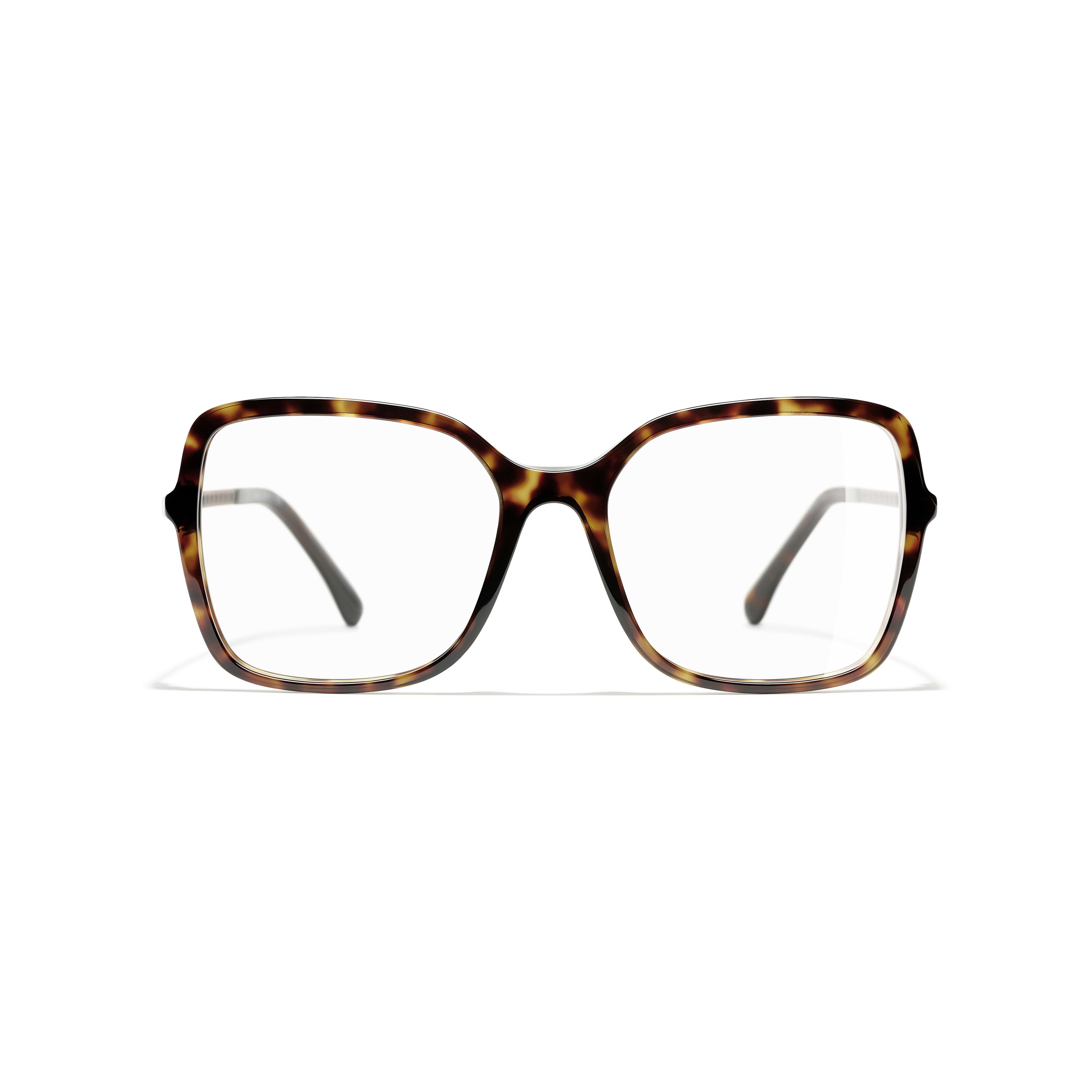 Square Eyeglasses - Dark Tortoise - Acetate & Diamanté - CHANEL - Alternative view - see standard sized version