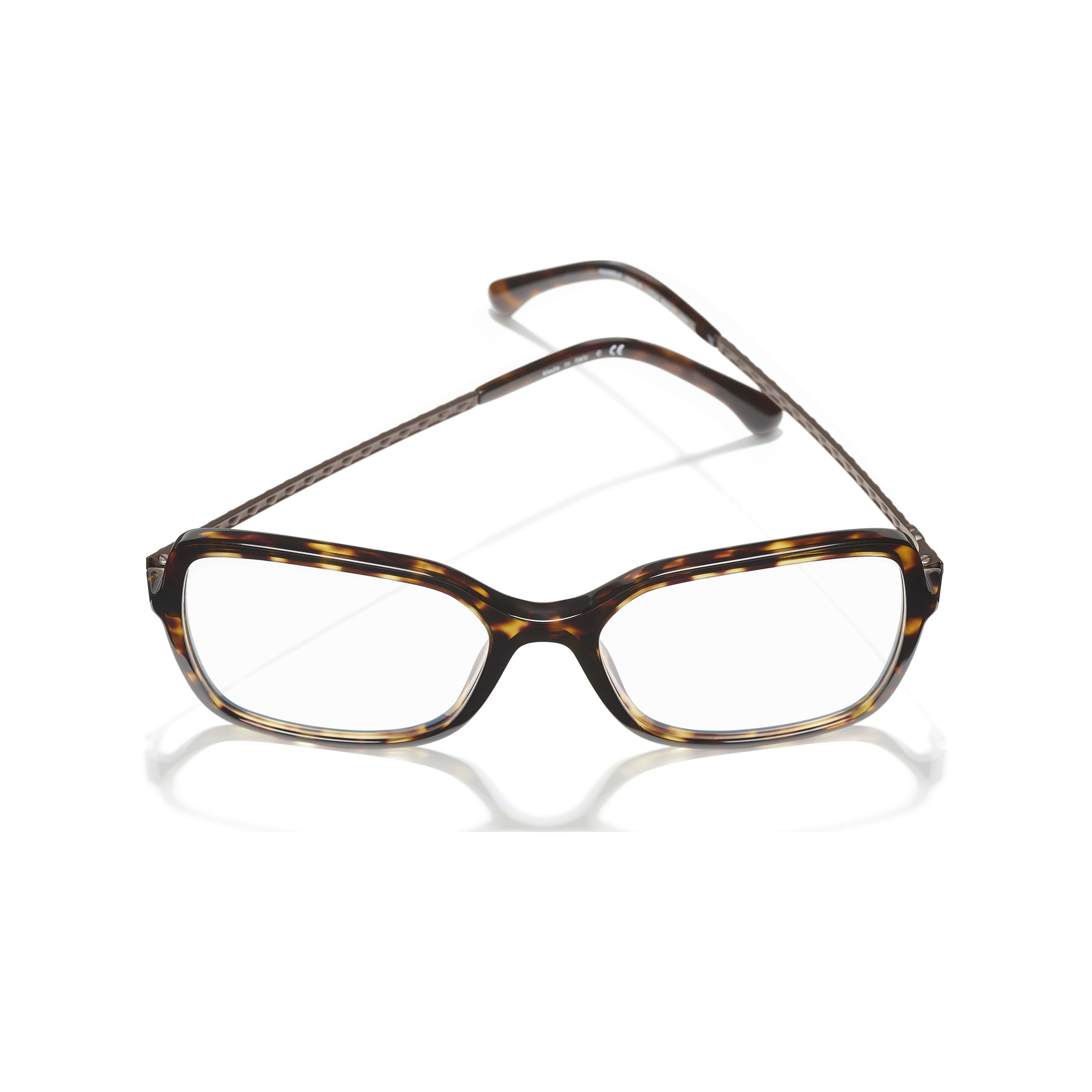 Square Eyeglasses - Dark Tortoise - Acetate & Diamanté - CHANEL - Extra view - see standard sized version