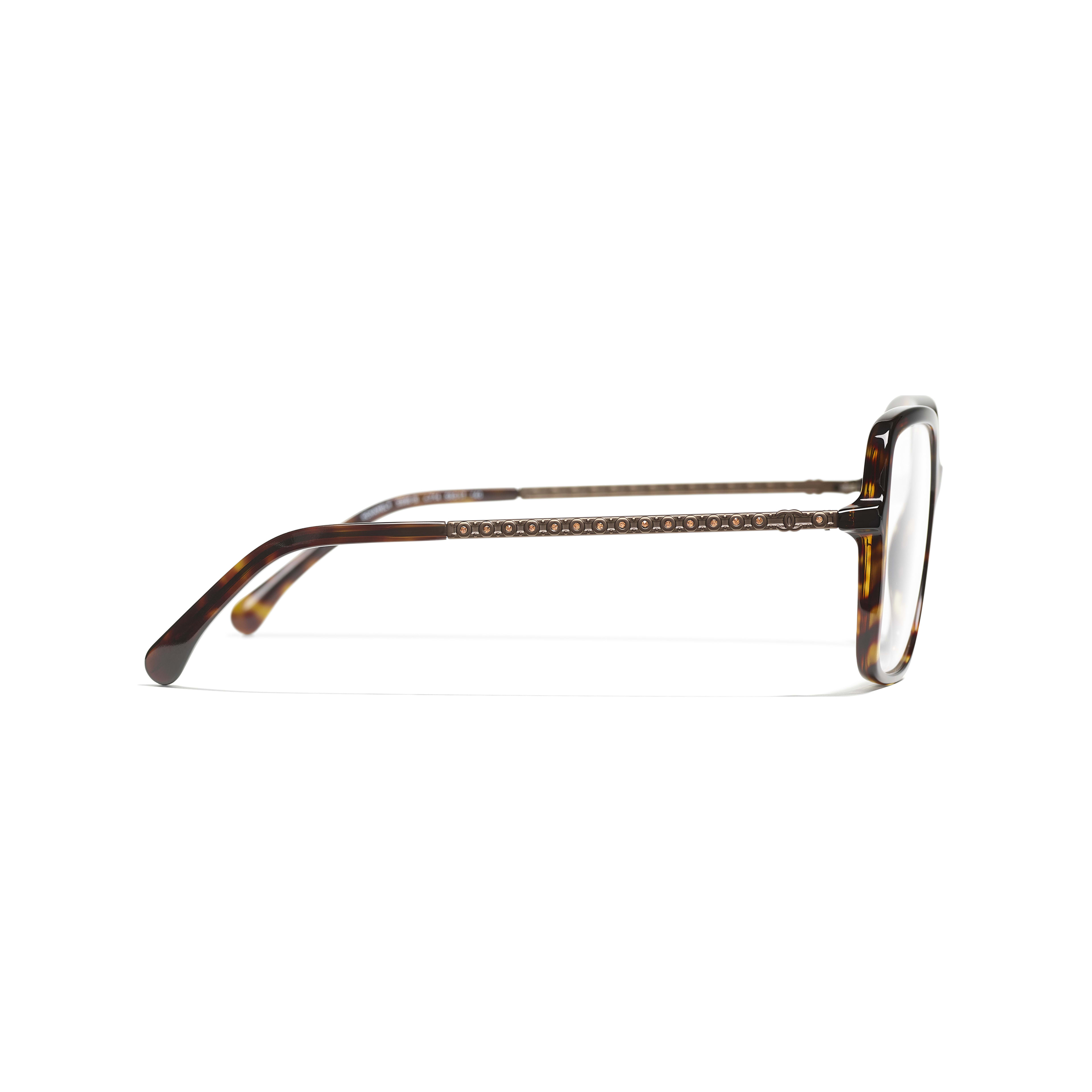 Square Eyeglasses - Dark Tortoise - Acetate & Diamanté - CHANEL - Other view - see standard sized version