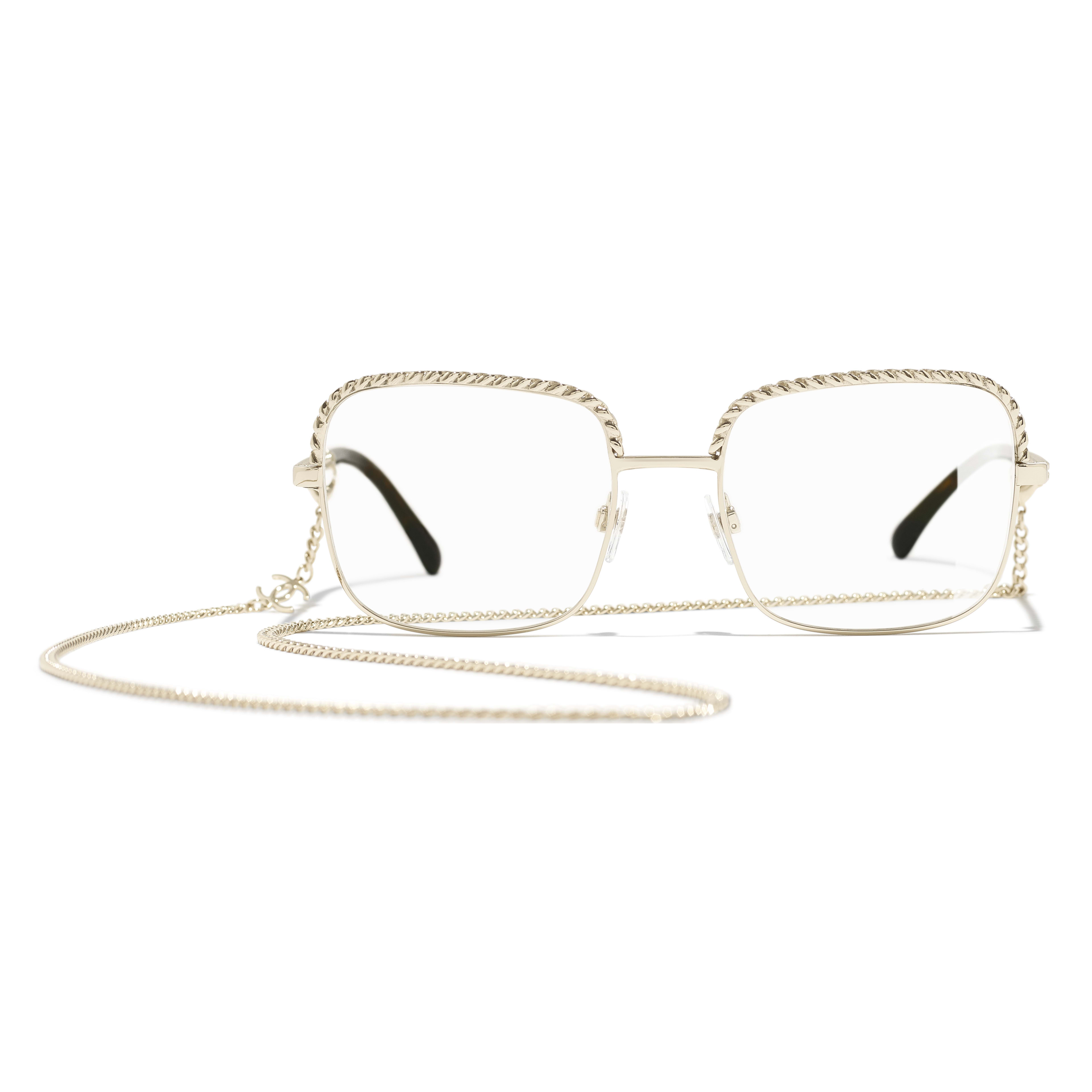Square Eyeglasses - Gold - Metal - Alternative view - see standard sized version