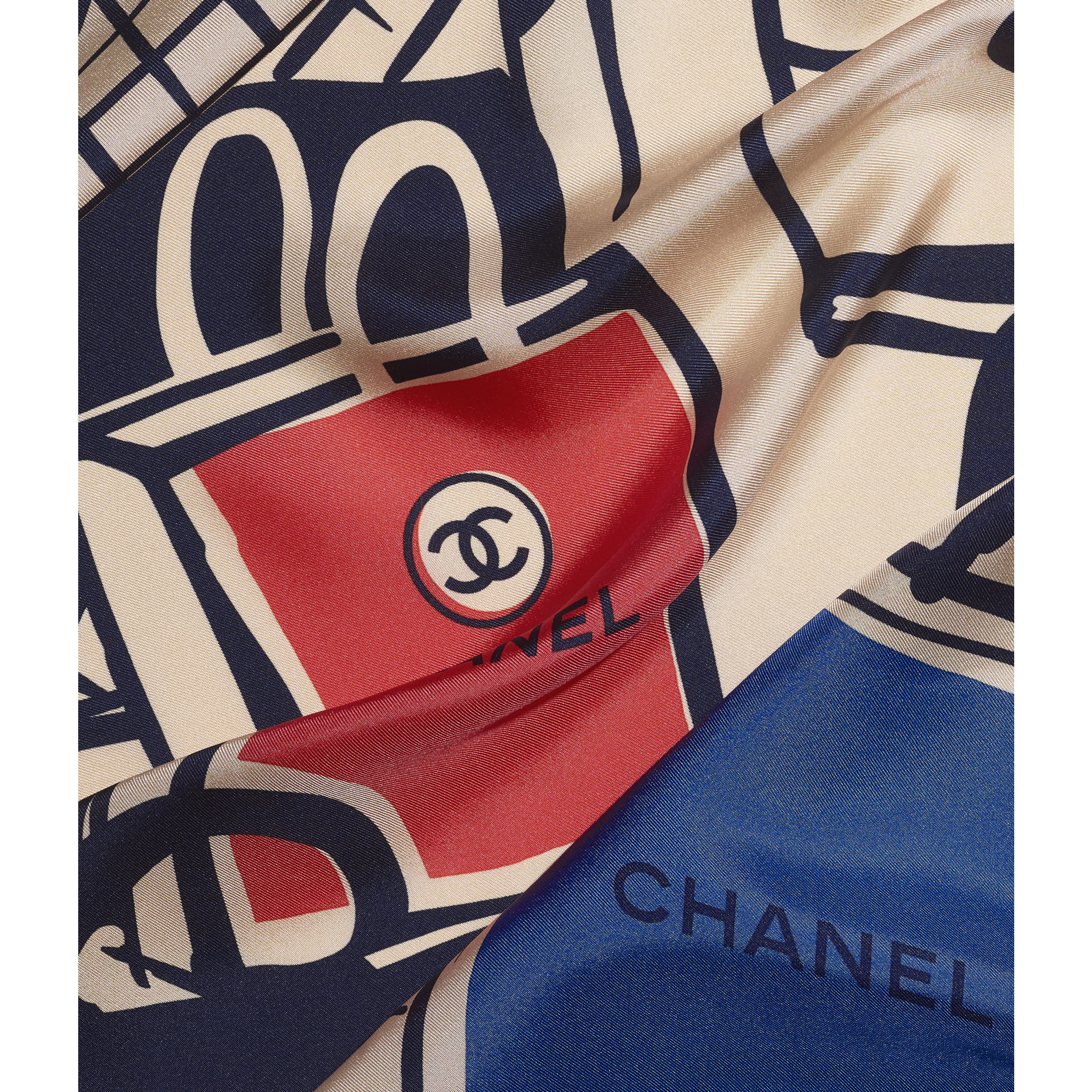 Square Scarf - Beige, Blue & Red - Silk Twill - CHANEL - Default view - see standard sized version