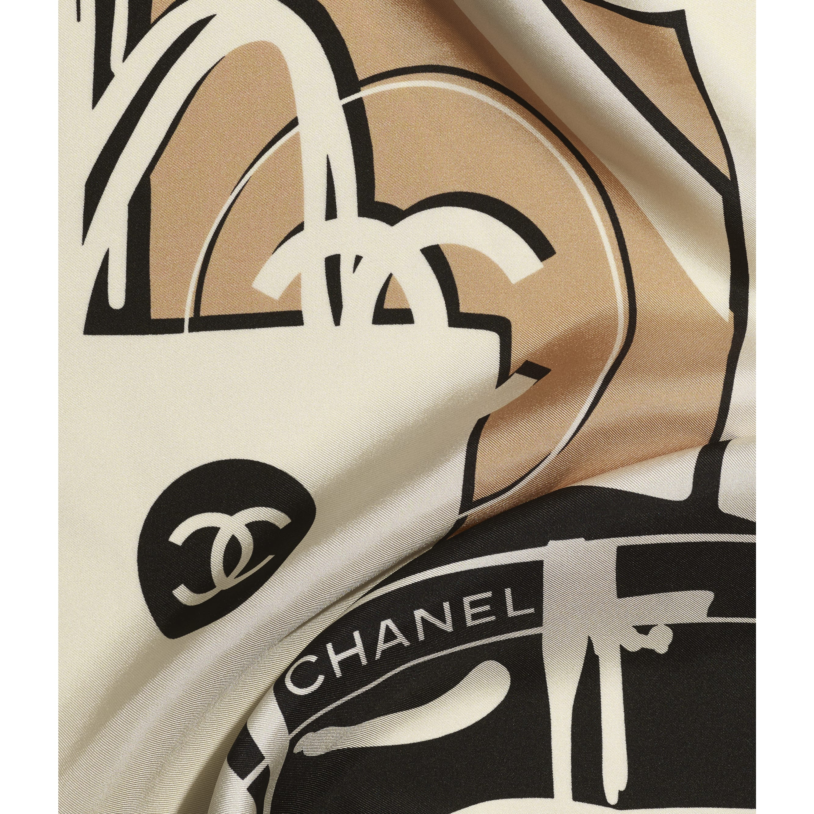 Square Scarf - Black, Blue & Pink - Silk Twill - CHANEL - Default view - see standard sized version