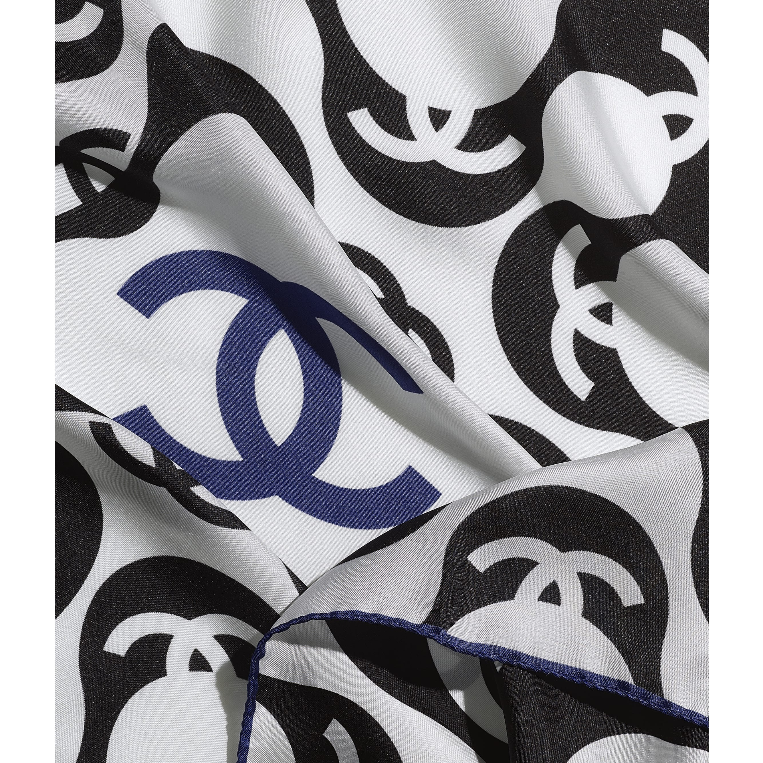 Square Scarf - Black & Blue - Silk Twill - CHANEL - Default view - see standard sized version