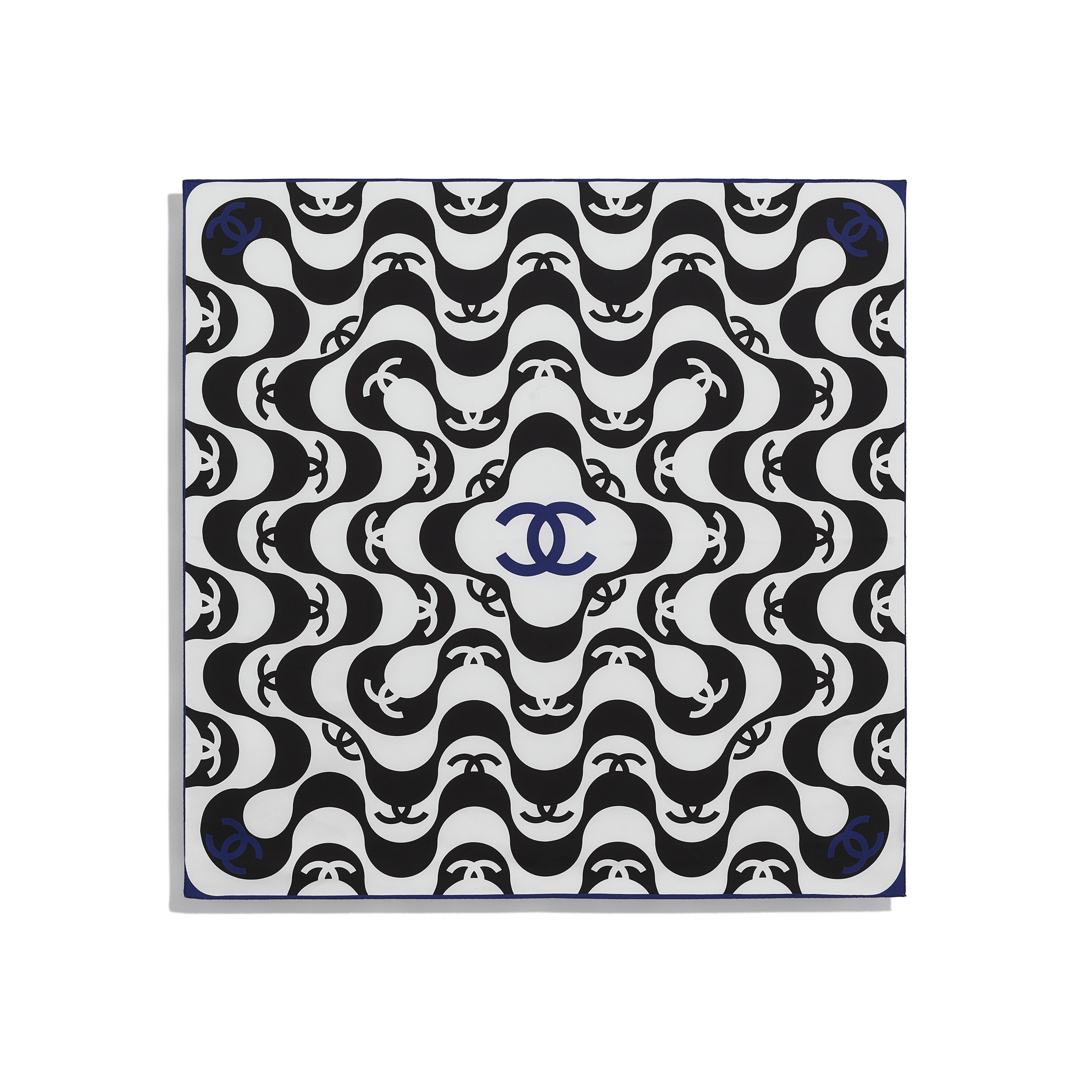 Square Scarf - Black & Blue - Silk Twill - CHANEL - Other view - see standard sized version