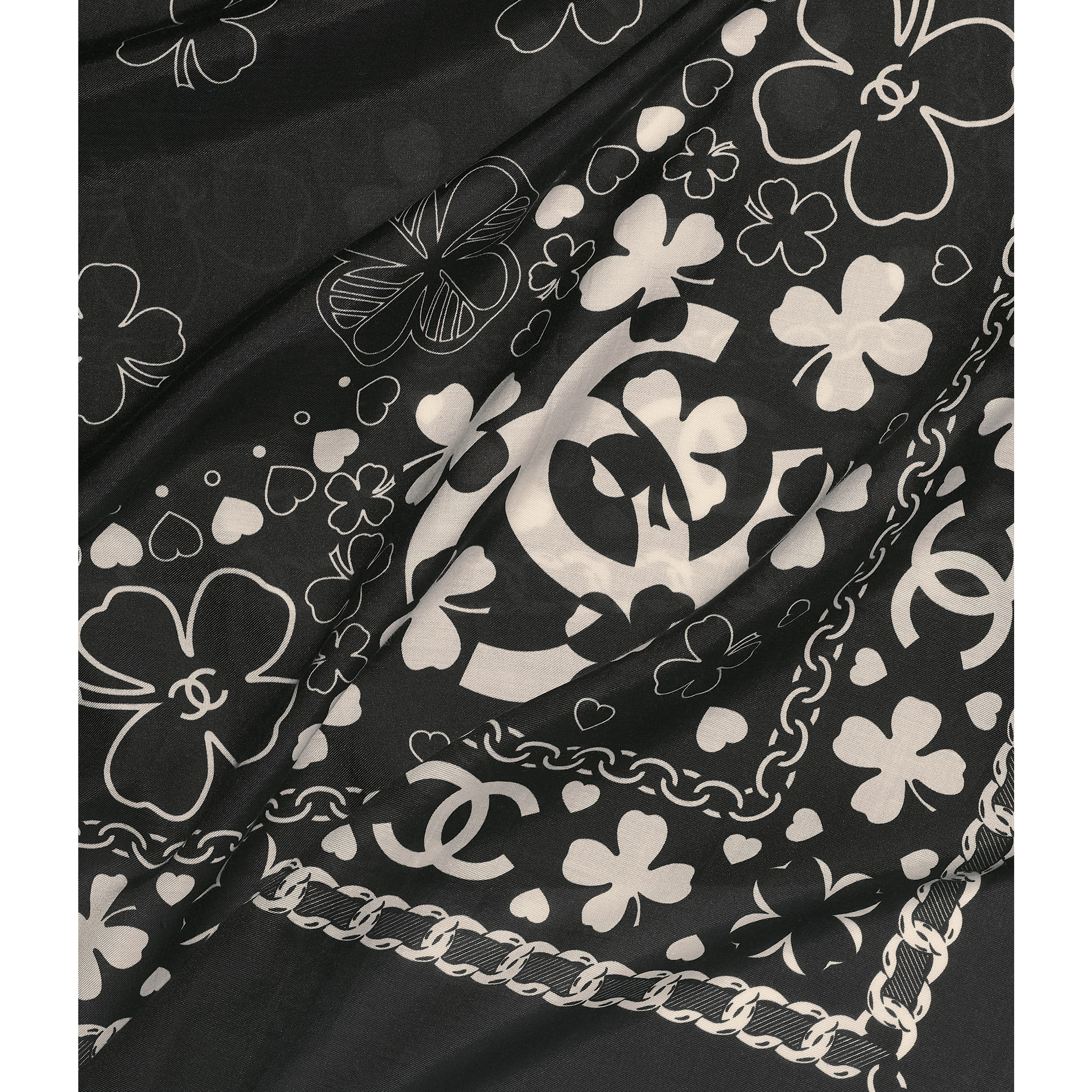 Square Scarf - Black - Cotton & Silk - Default view - see standard sized version
