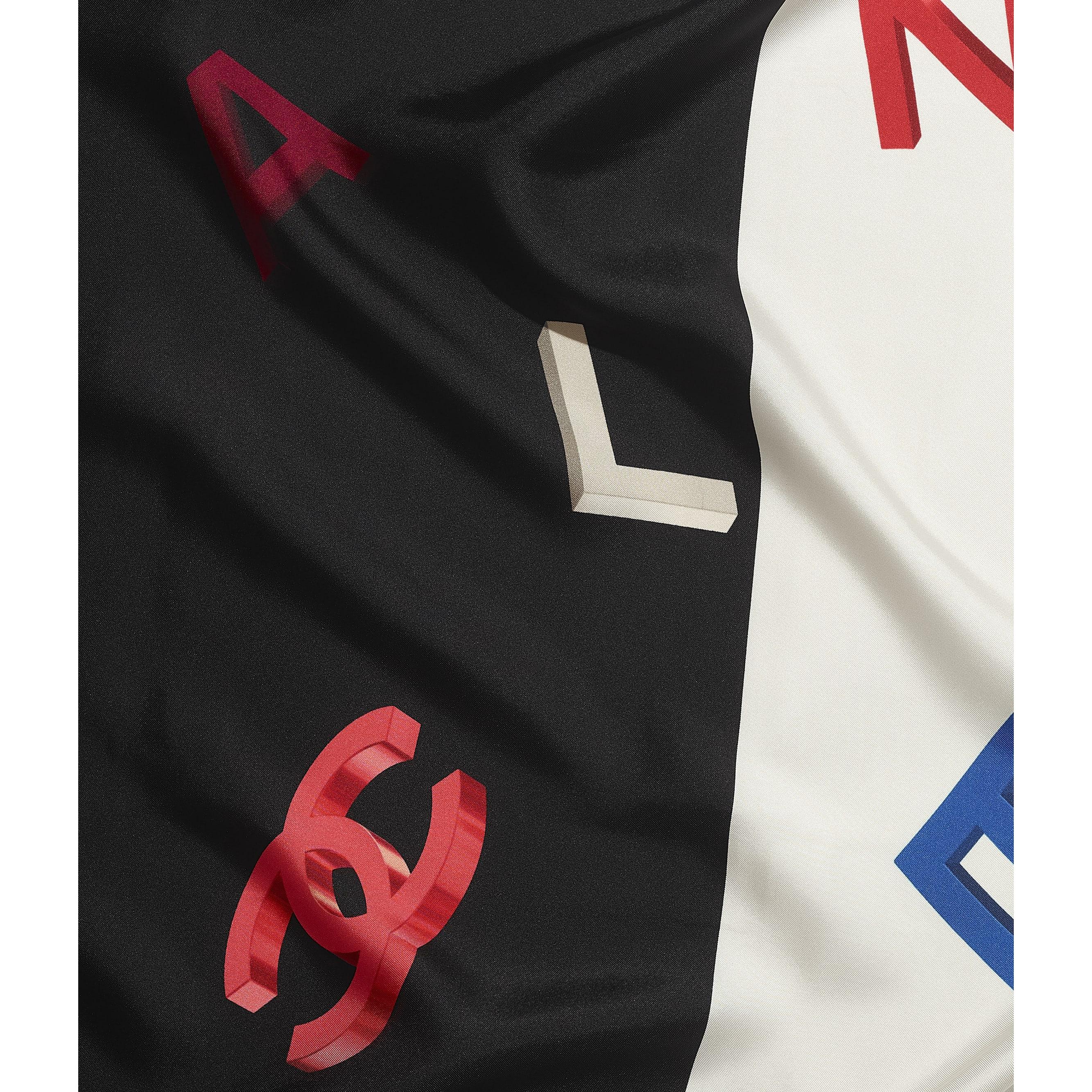 Шарф - Черный и цвет слоновой кости - Шелковый твид - Вид по умолчанию - посмотреть изображение стандартного размера