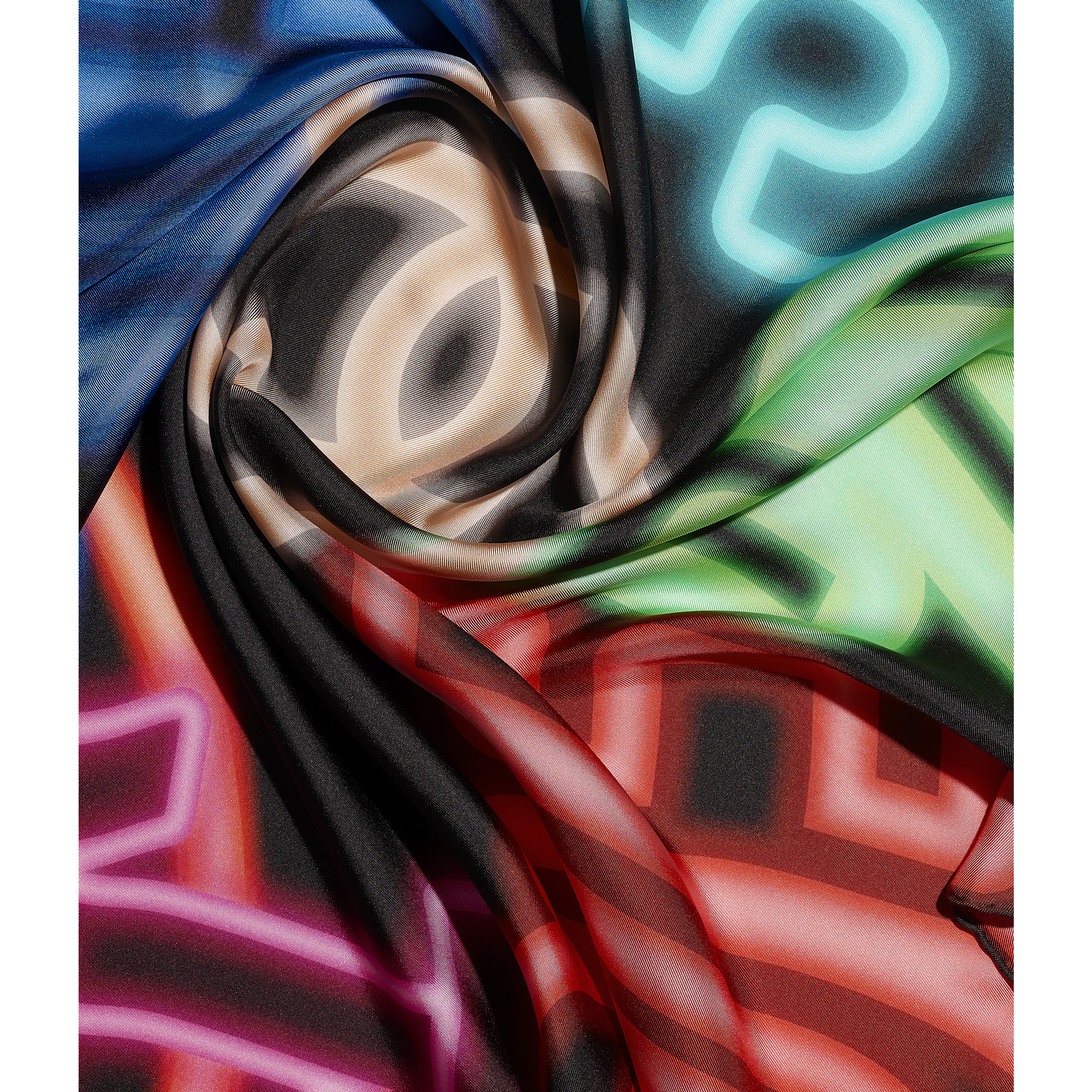 Square Scarf - Black & Multicolour - Silk Twill - CHANEL - Default view - see standard sized version