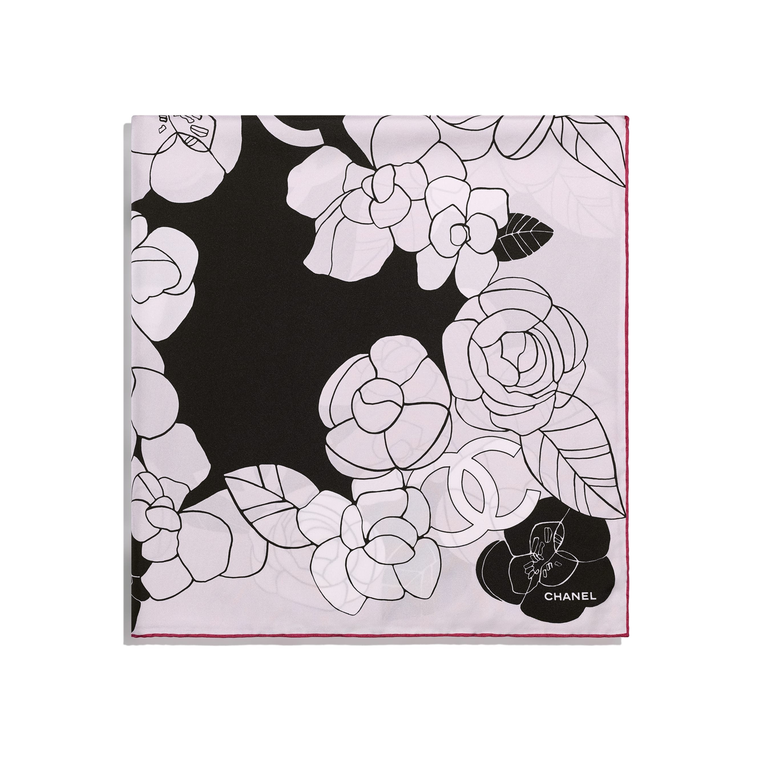 Square Scarf -  Black, Pale Pink & Red - Silk Twill - CHANEL - Alternative view - see standard sized version