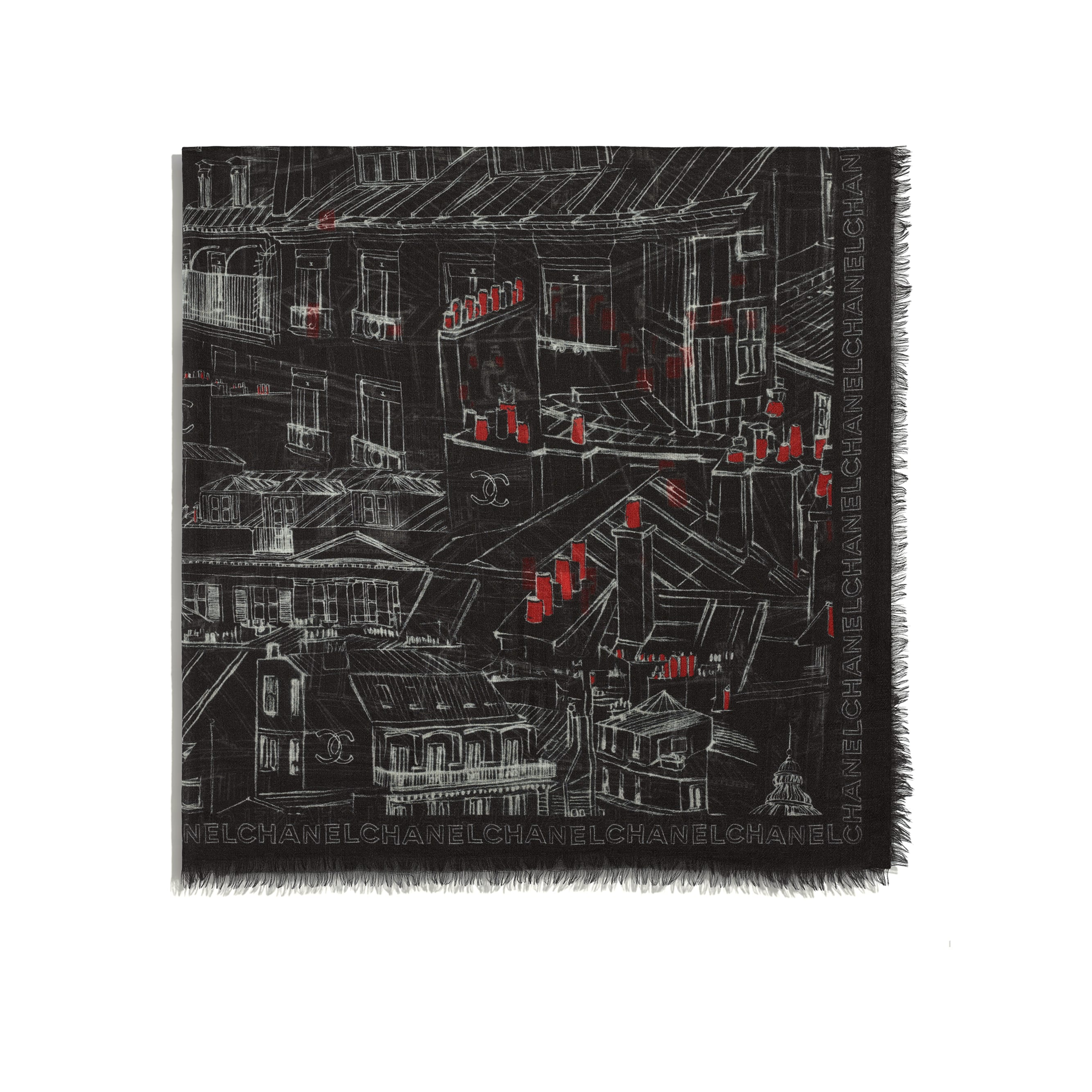 Square Scarf - Black, Red & White - Cashmere - CHANEL - Alternative view - see standard sized version