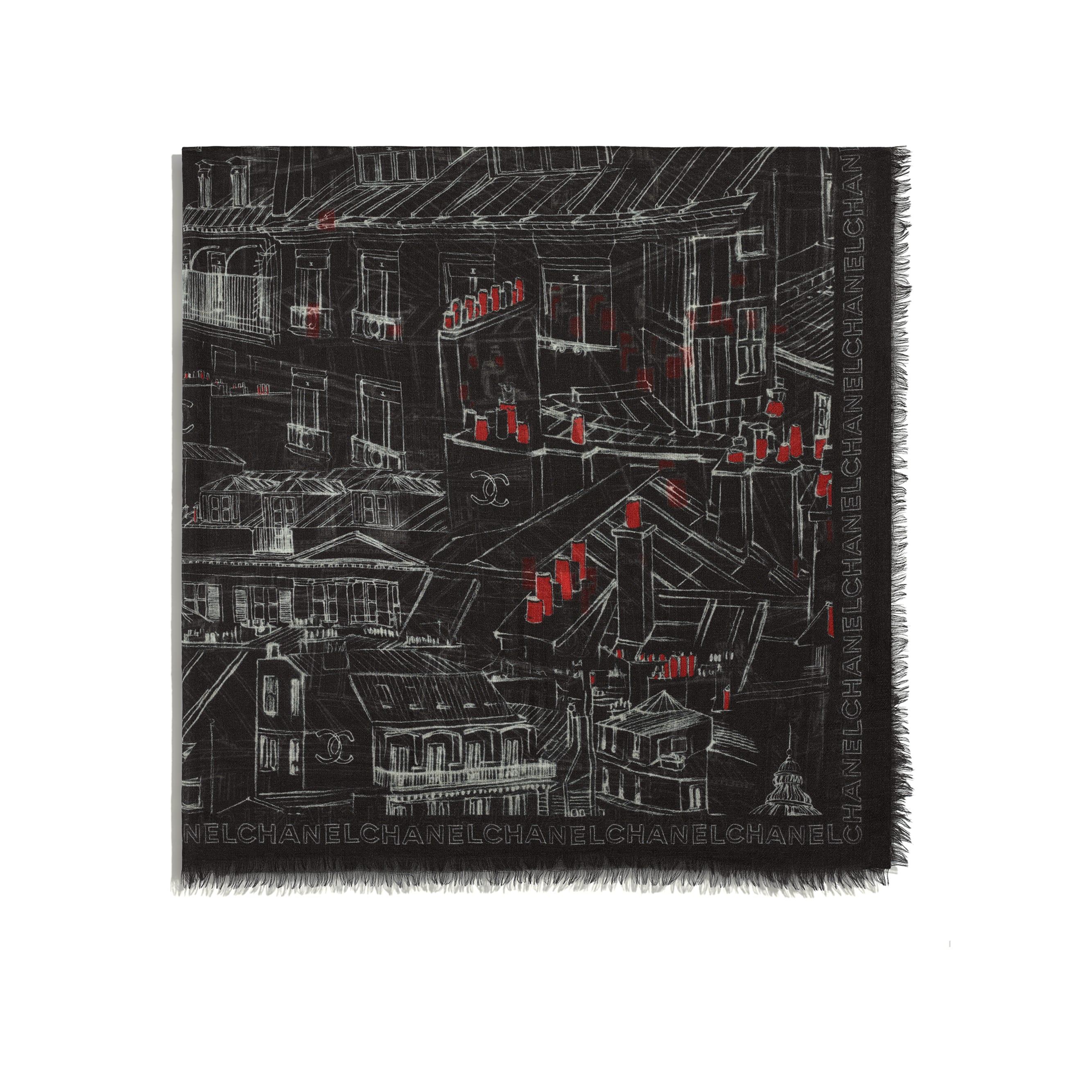 Pañuelo cuadrado - Negro, rojo y blanco - Cachemire - CHANEL - Vista alternativa - ver la versión tamaño estándar