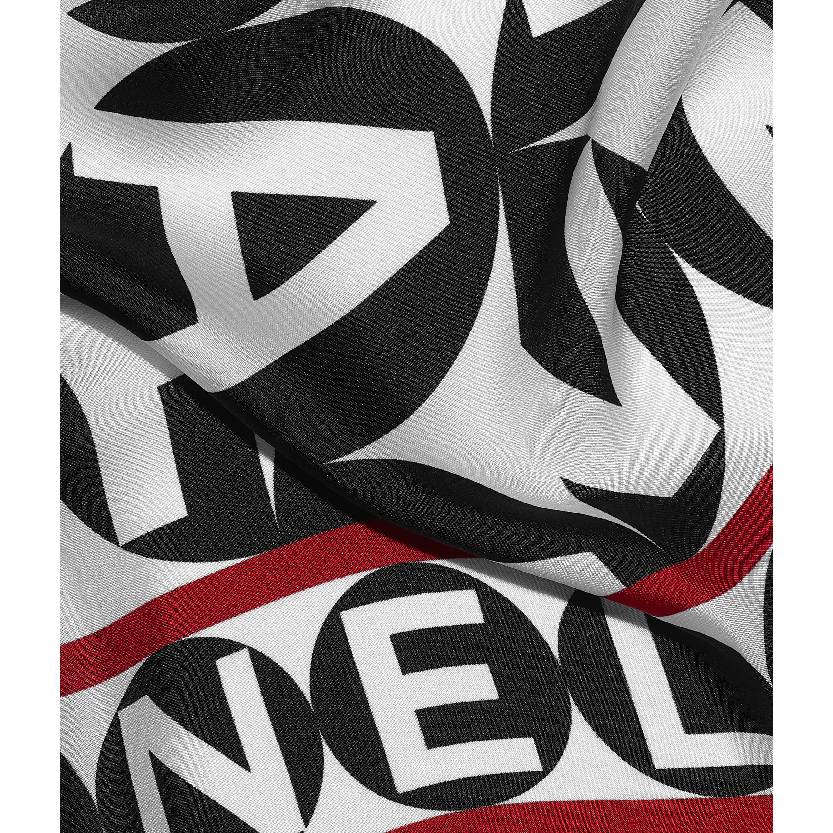 Square Scarf - Black, Red & White - Silk Twill - CHANEL - Default view - see standard sized version
