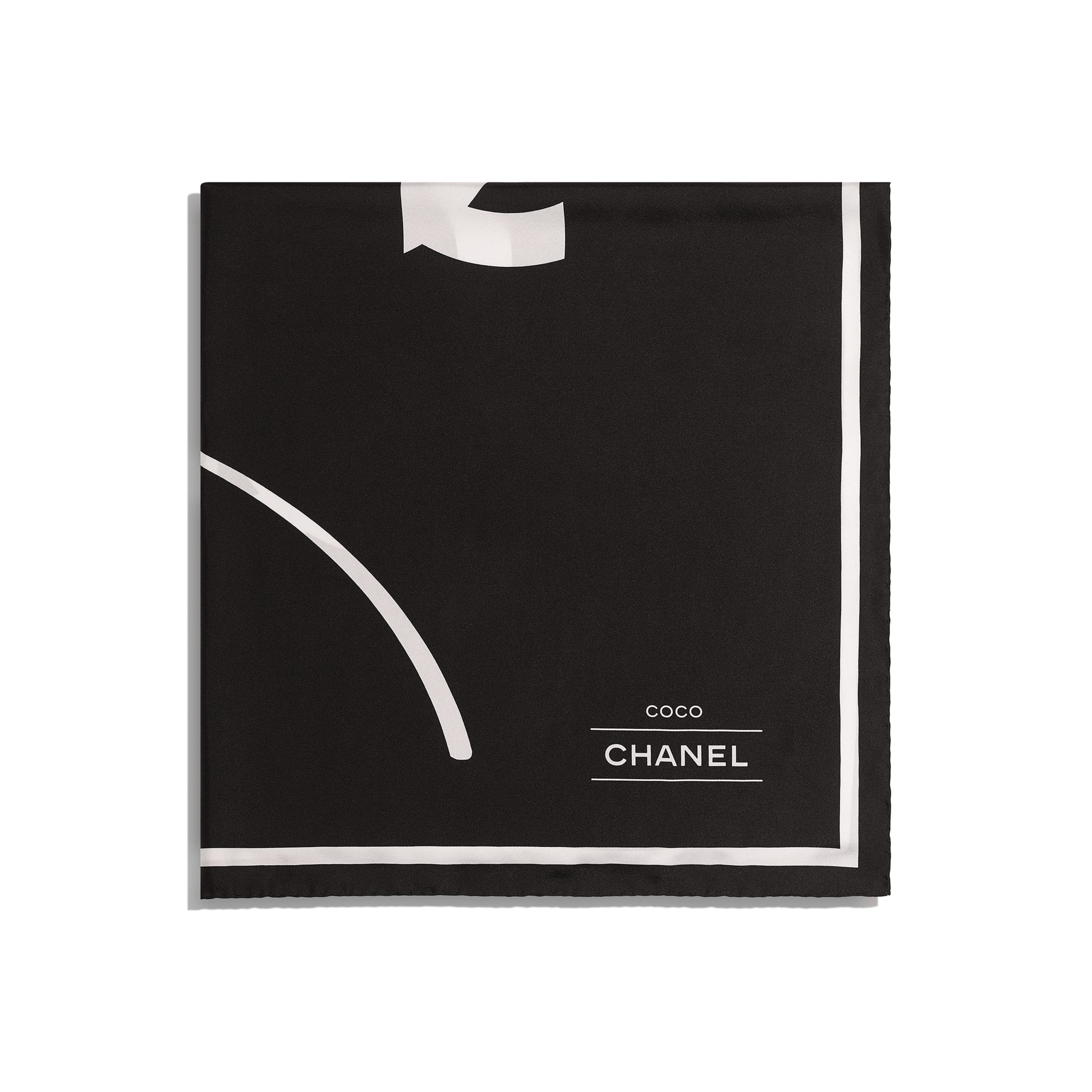 Square Scarf - Black - Silk Twill - CHANEL - Alternative view - see standard sized version
