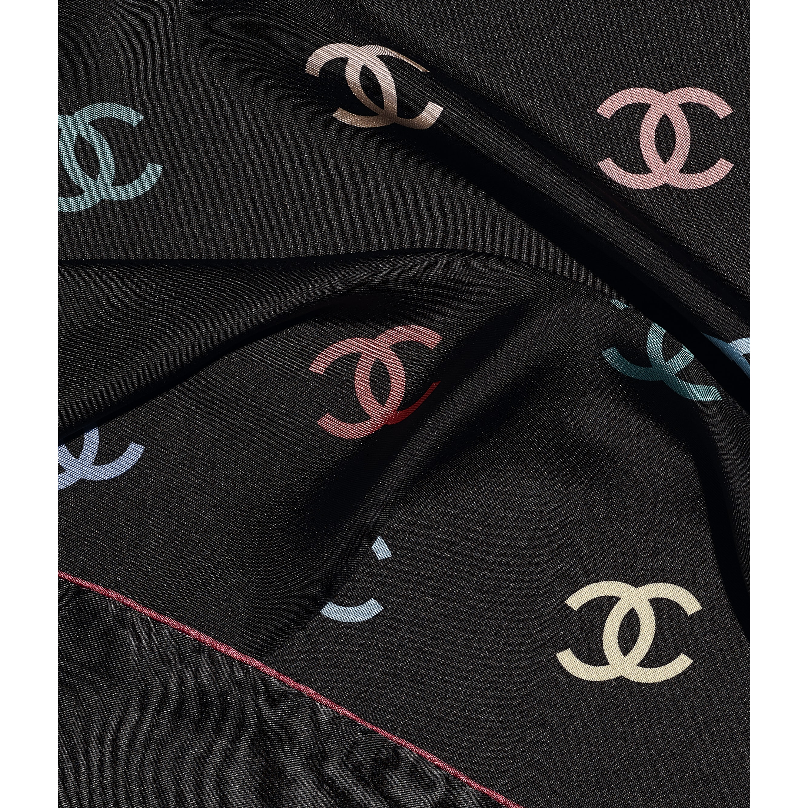 Square Scarf - Black - Silk Twill - CHANEL - Default view - see standard sized version