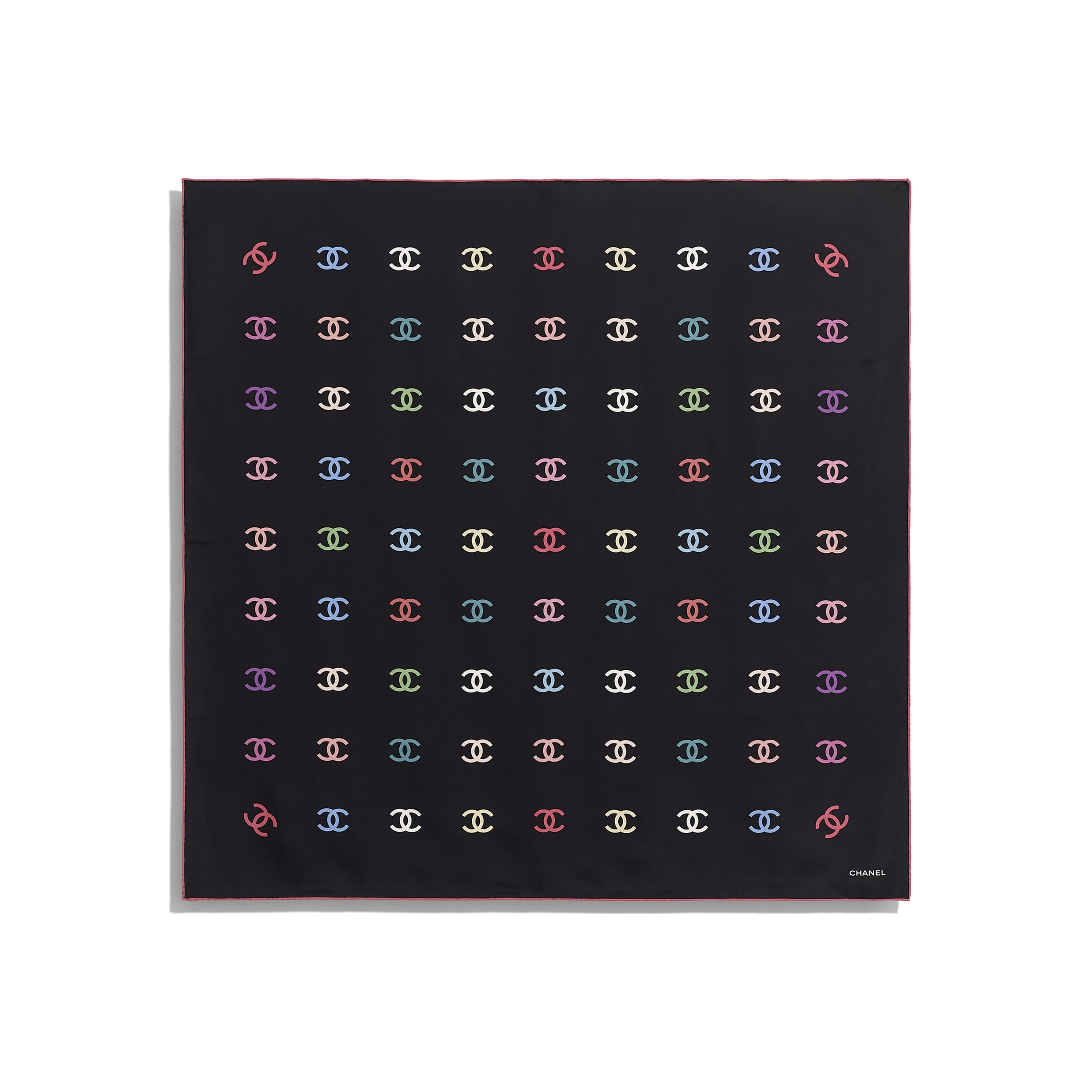 Square Scarf - Black - Silk Twill - CHANEL - Other view - see standard sized version