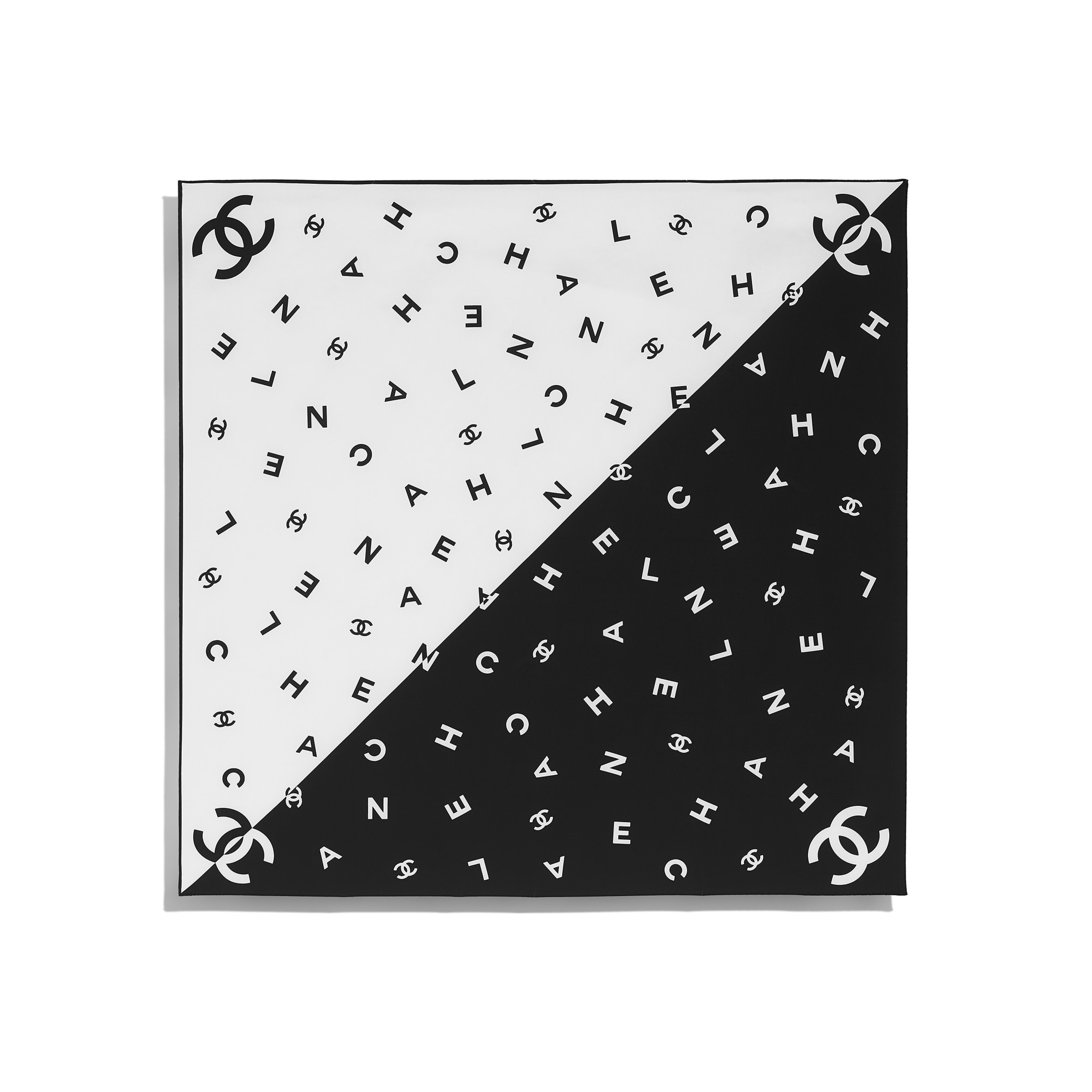 Square Scarf - Black & White - Silk Twill - CHANEL - Other view - see standard sized version