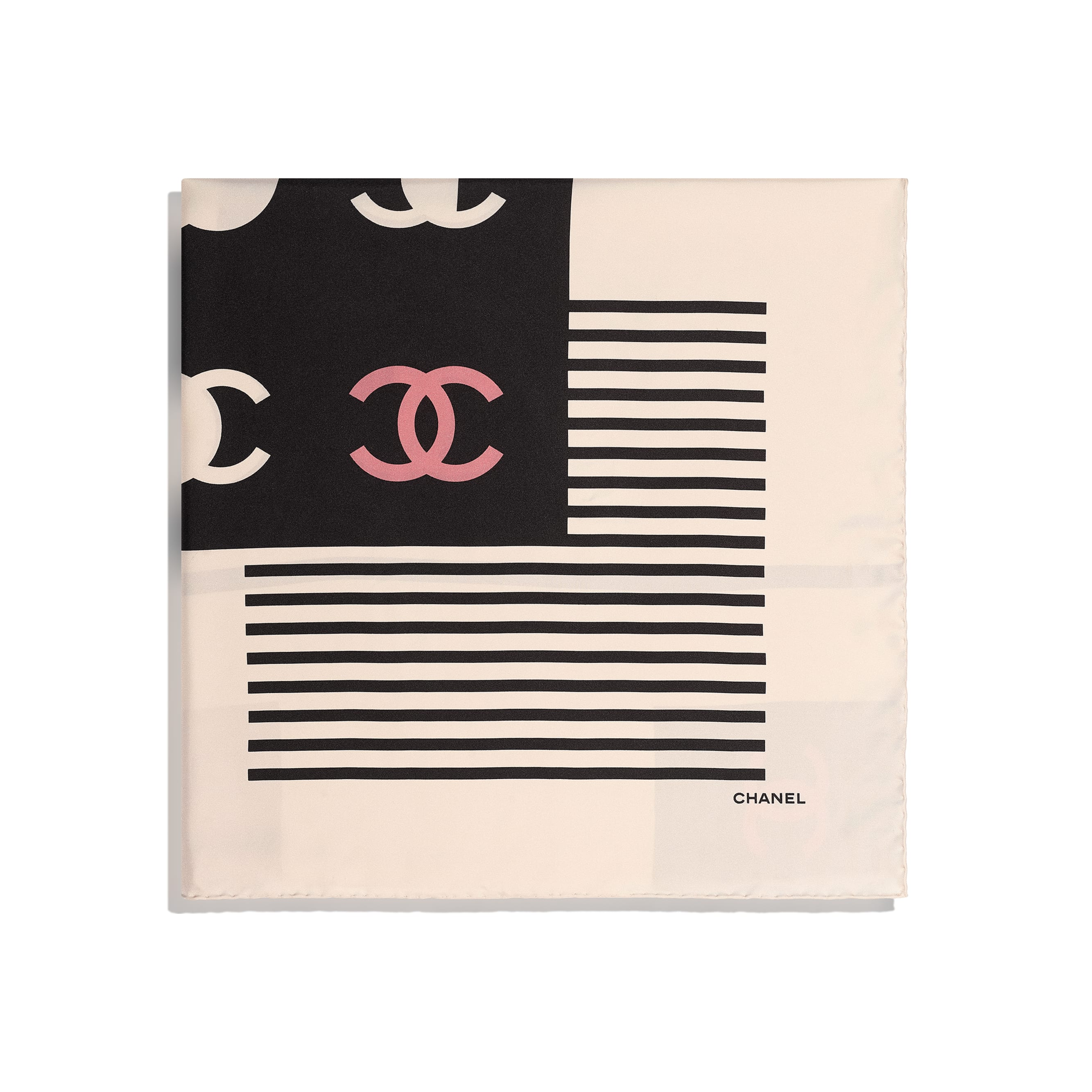 Square Scarf - Ecru, Black & Beige - Silk Twill - CHANEL - Alternative view - see standard sized version