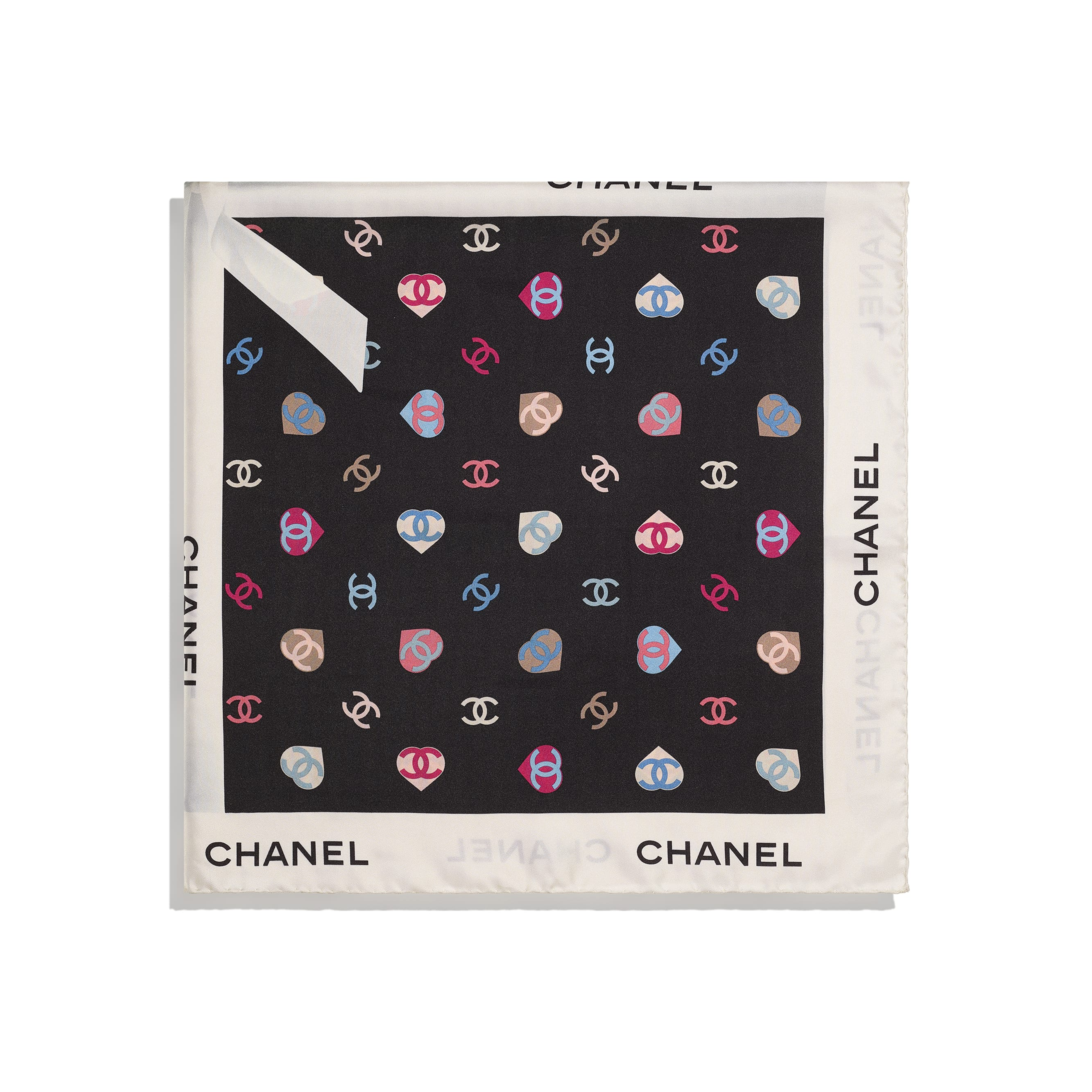 Square Scarf - Ecru & Black - Silk Twill - CHANEL - Alternative view - see standard sized version