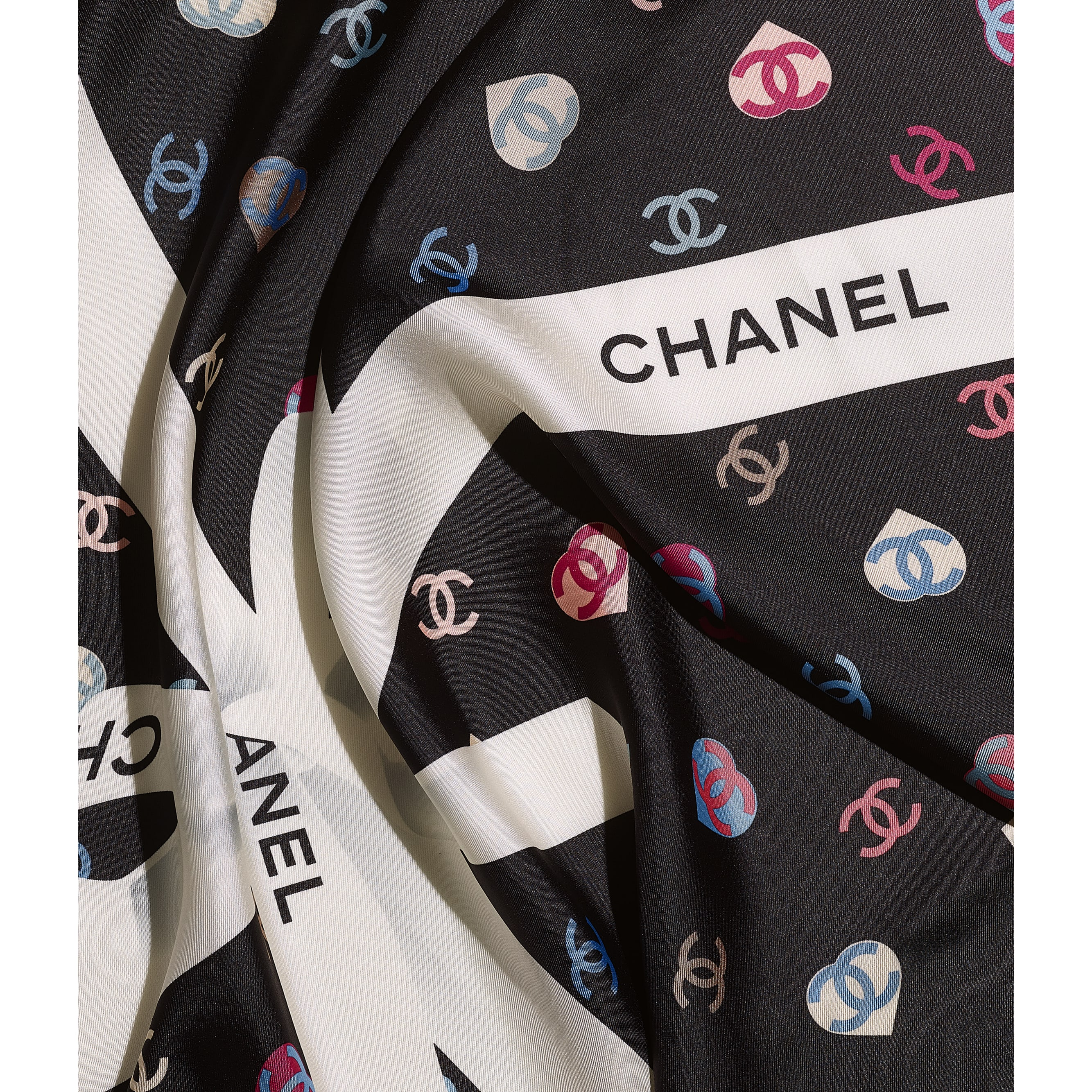 Square Scarf - Ecru & Black - Silk Twill - CHANEL - Default view - see standard sized version