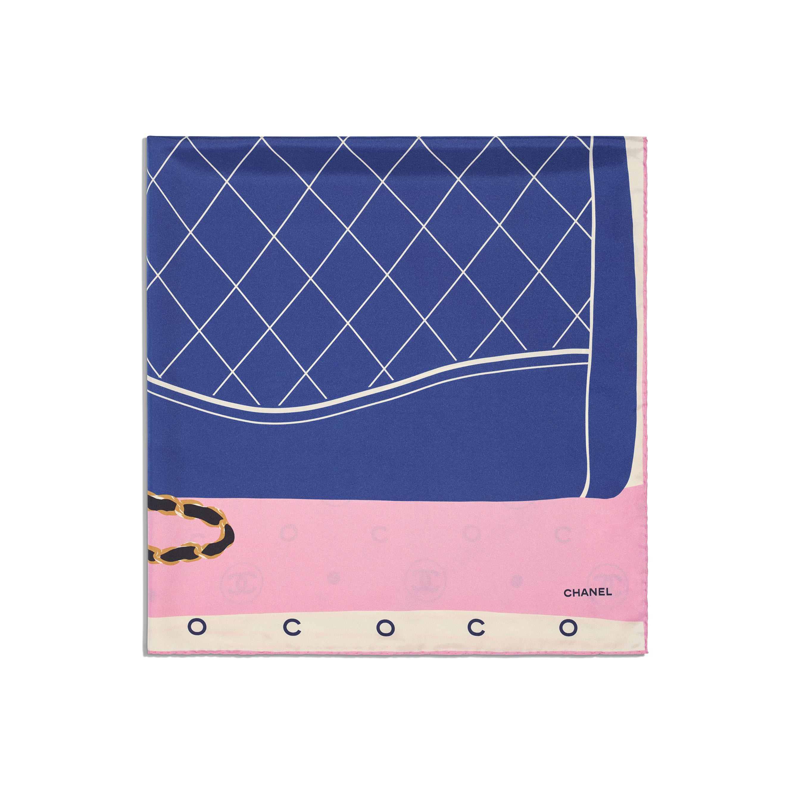 Square Scarf - Ecru, Blue & Pink - Silk Twill - Alternative view - see standard sized version