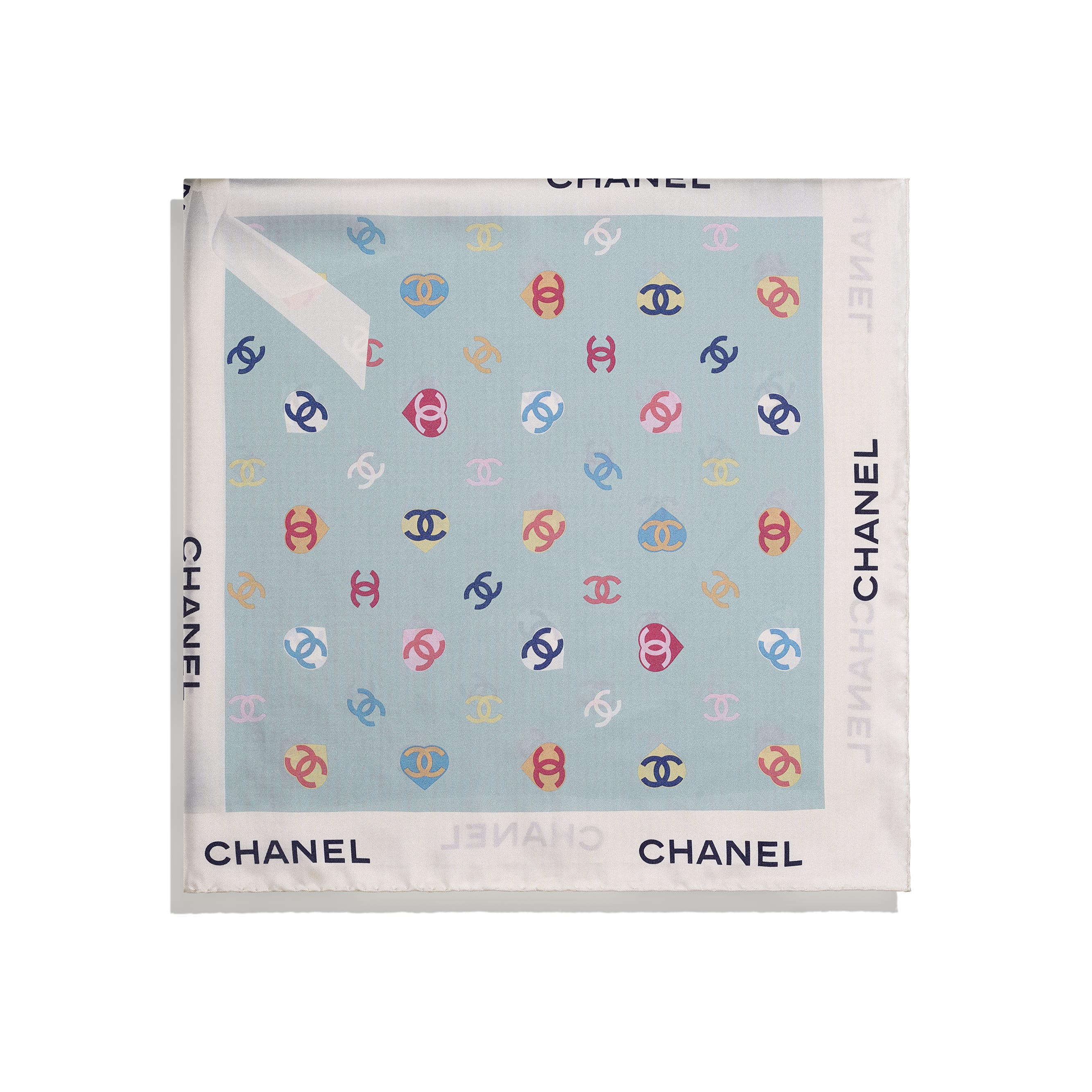 Square Scarf - Ecru & Blue - Silk Twill - CHANEL - Alternative view - see standard sized version