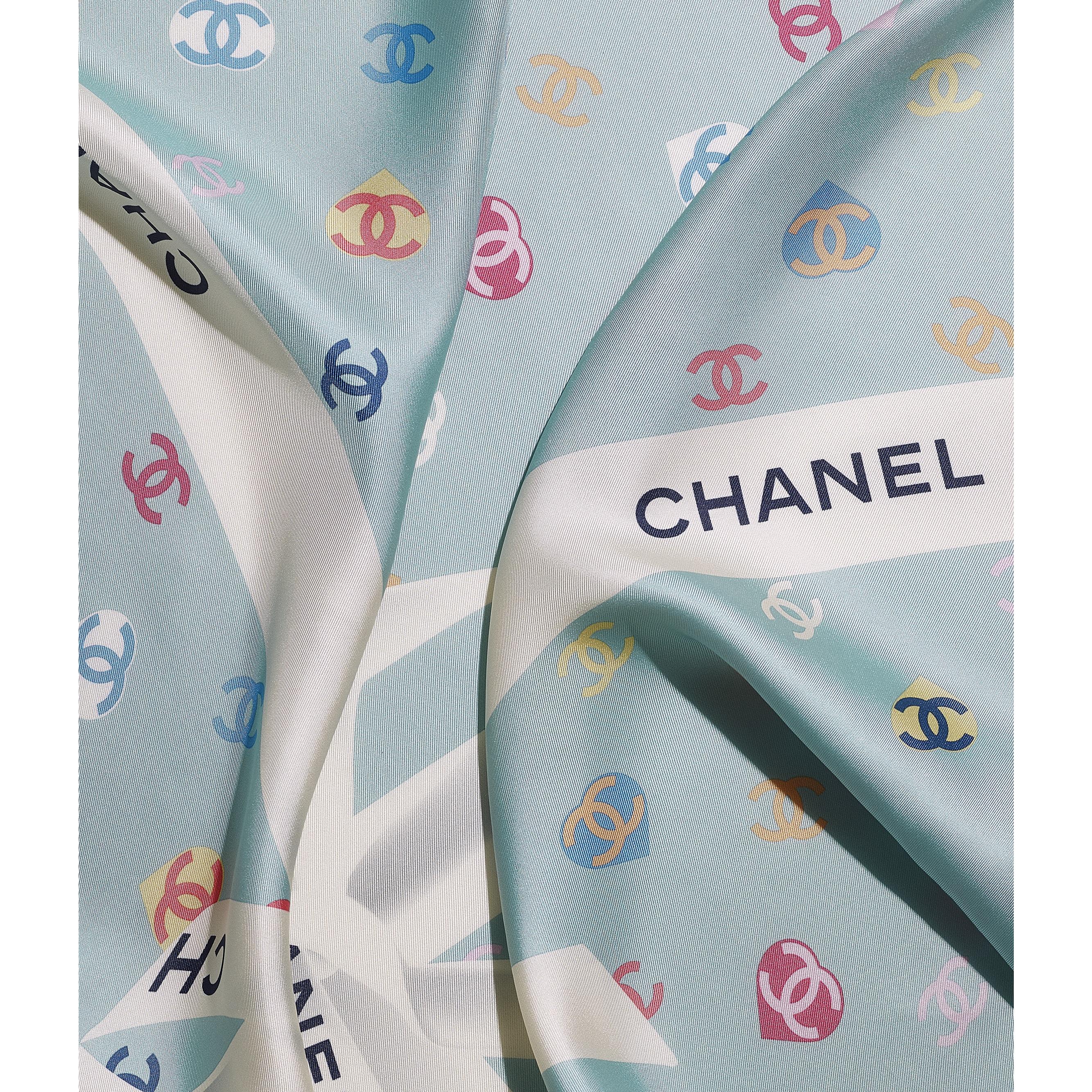 Square Scarf - Ecru & Blue - Silk Twill - CHANEL - Default view - see standard sized version