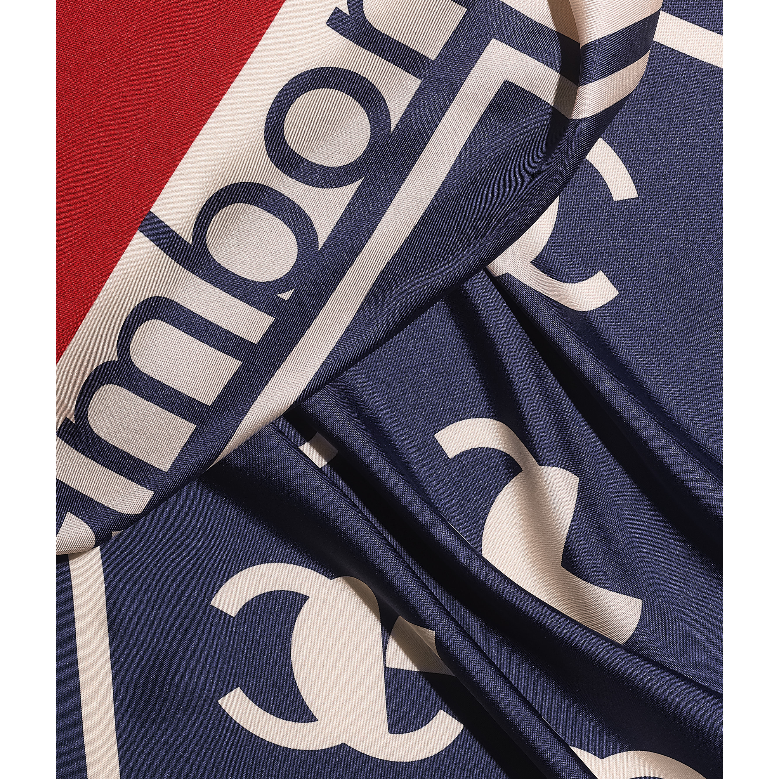 Square Scarf - Ecru, Navy Blue & Red - Silk Twill - CHANEL - Default view - see standard sized version