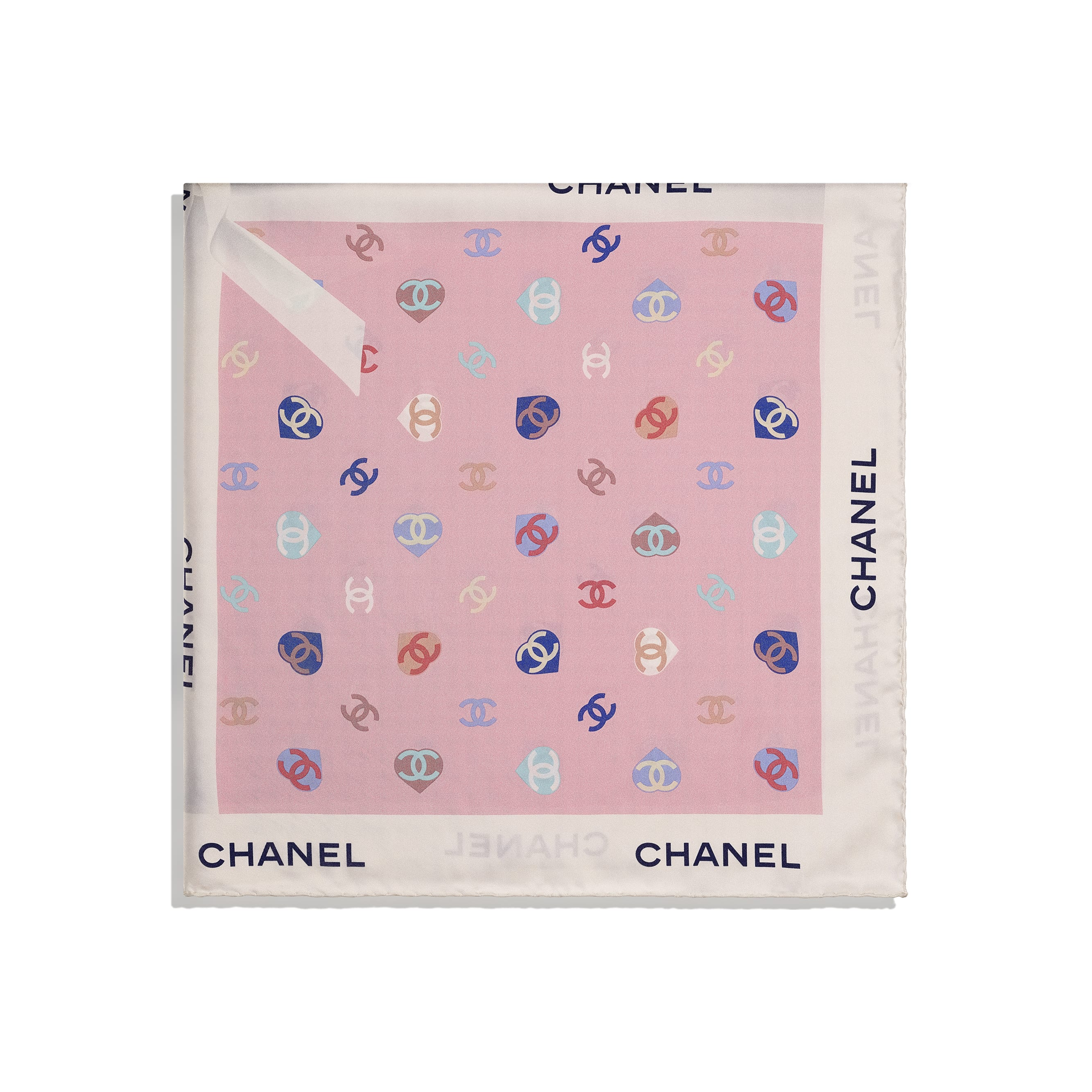 Square Scarf - Ecru & Pale Pink - Silk Twill - CHANEL - Alternative view - see standard sized version