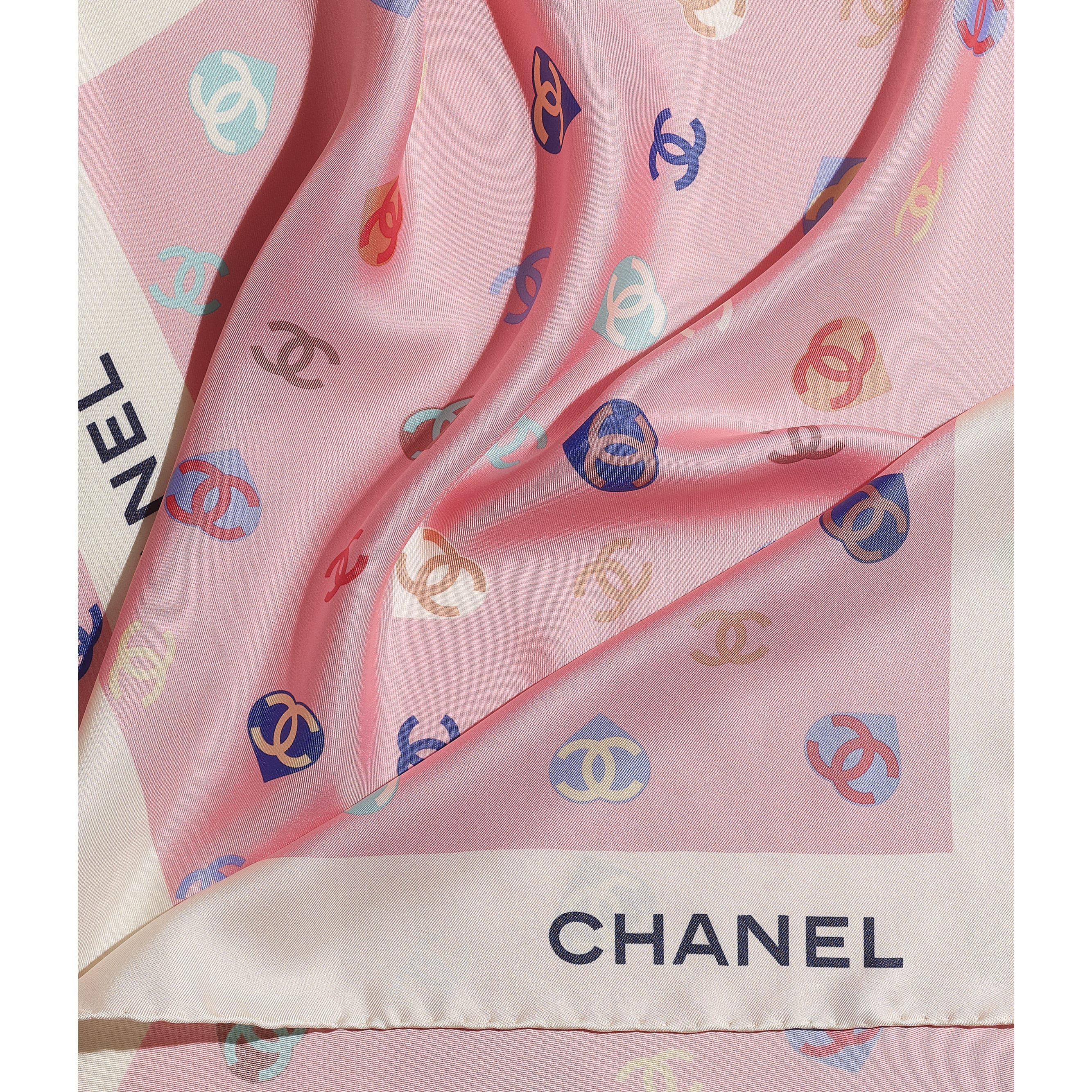 Square Scarf - Ecru & Pale Pink - Silk Twill - CHANEL - Default view - see standard sized version