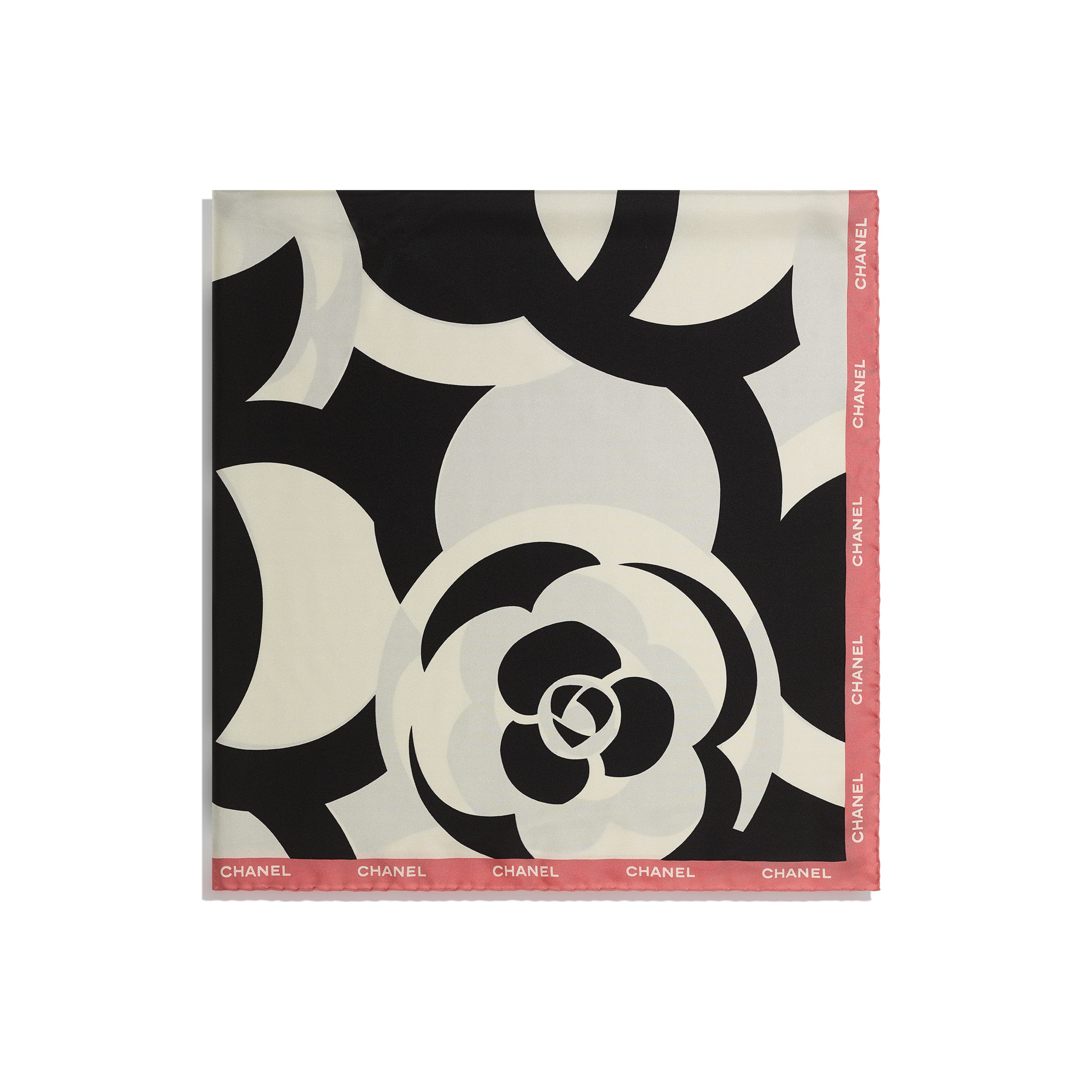 Square Scarf - Ivory, Black & Pink - Silk Twill - CHANEL - Alternative view - see standard sized version