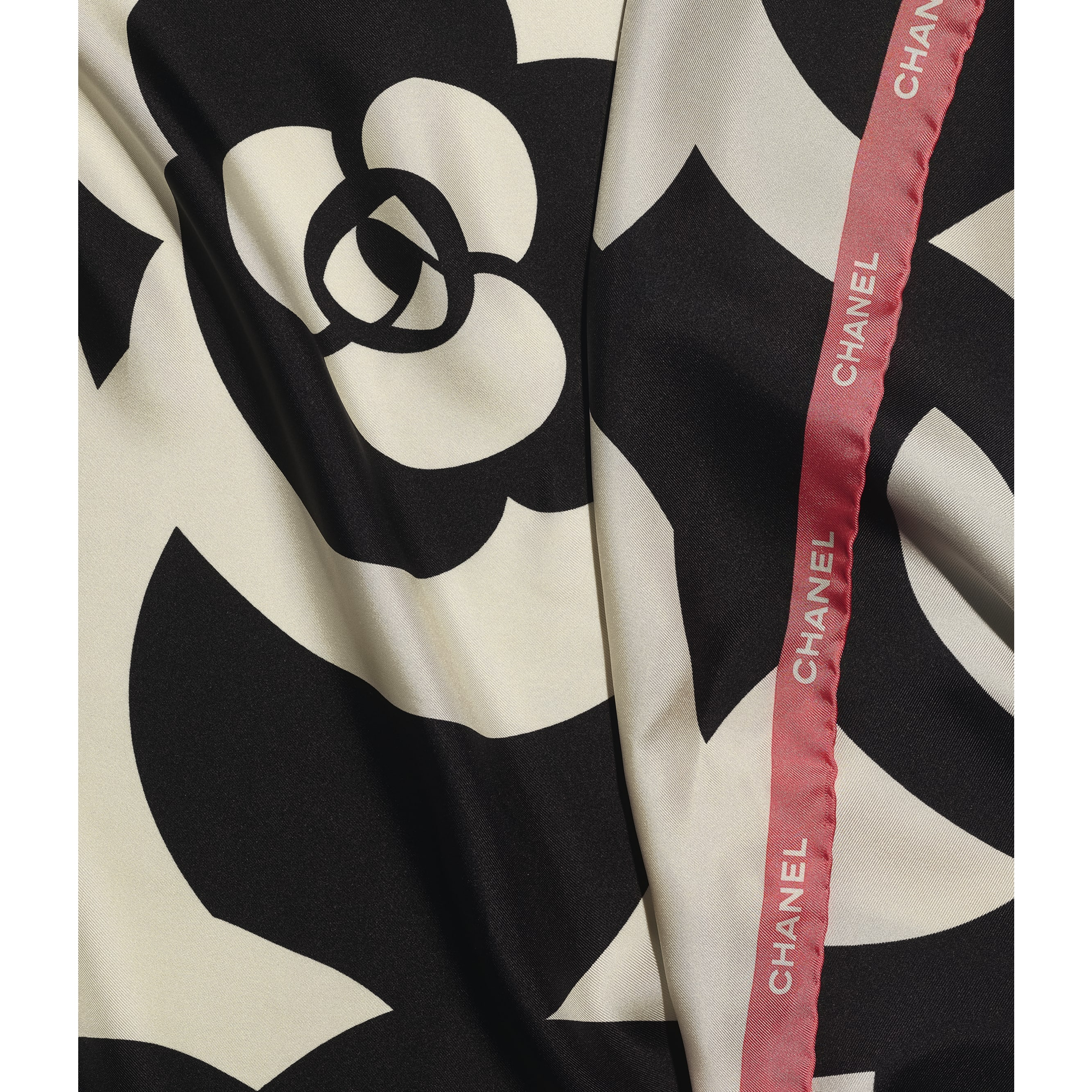 Square Scarf - Ivory, Black & Pink - Silk Twill - CHANEL - Default view - see standard sized version