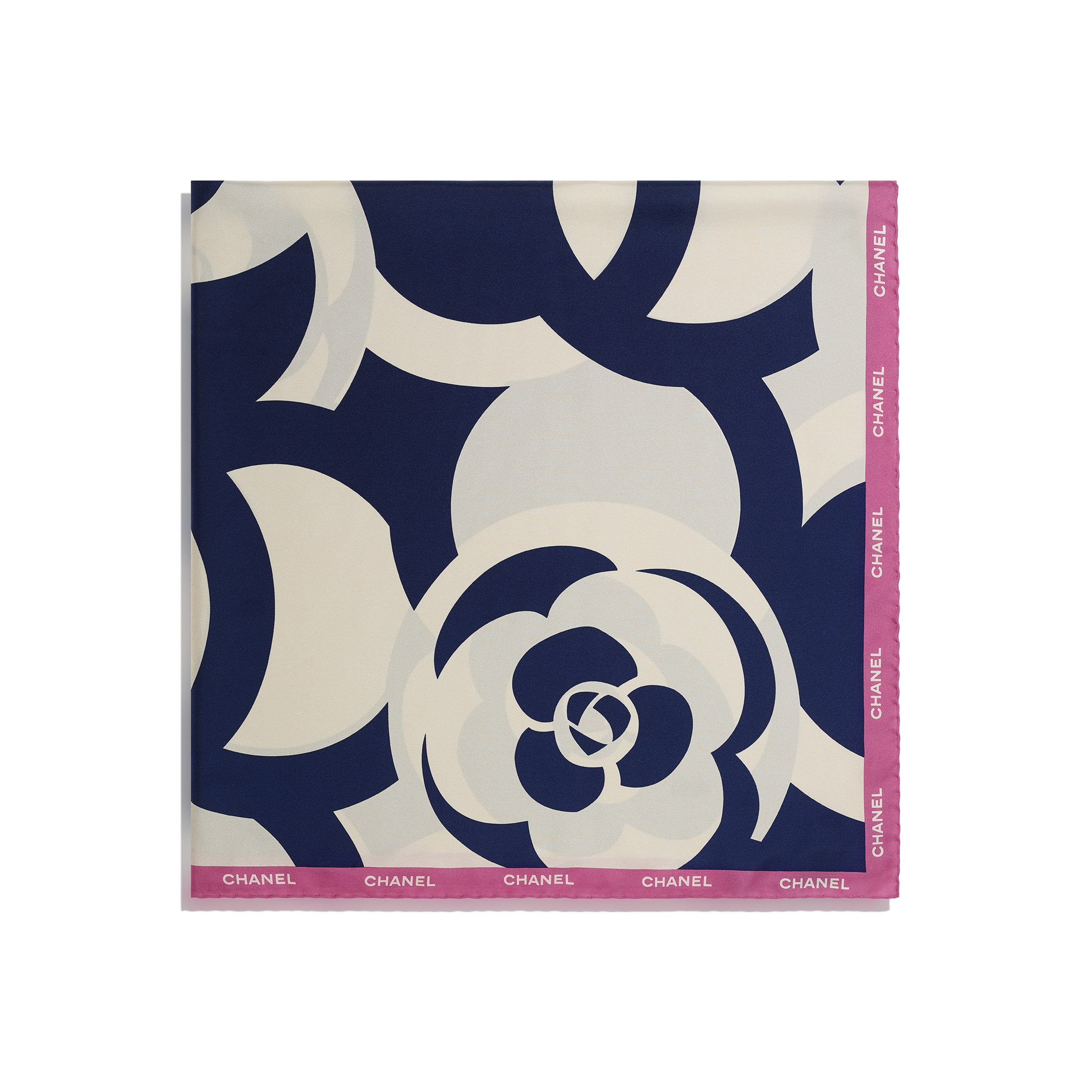 Square Scarf - Ivory, Navy Blue & Pink - Silk Twill - CHANEL - Alternative view - see standard sized version