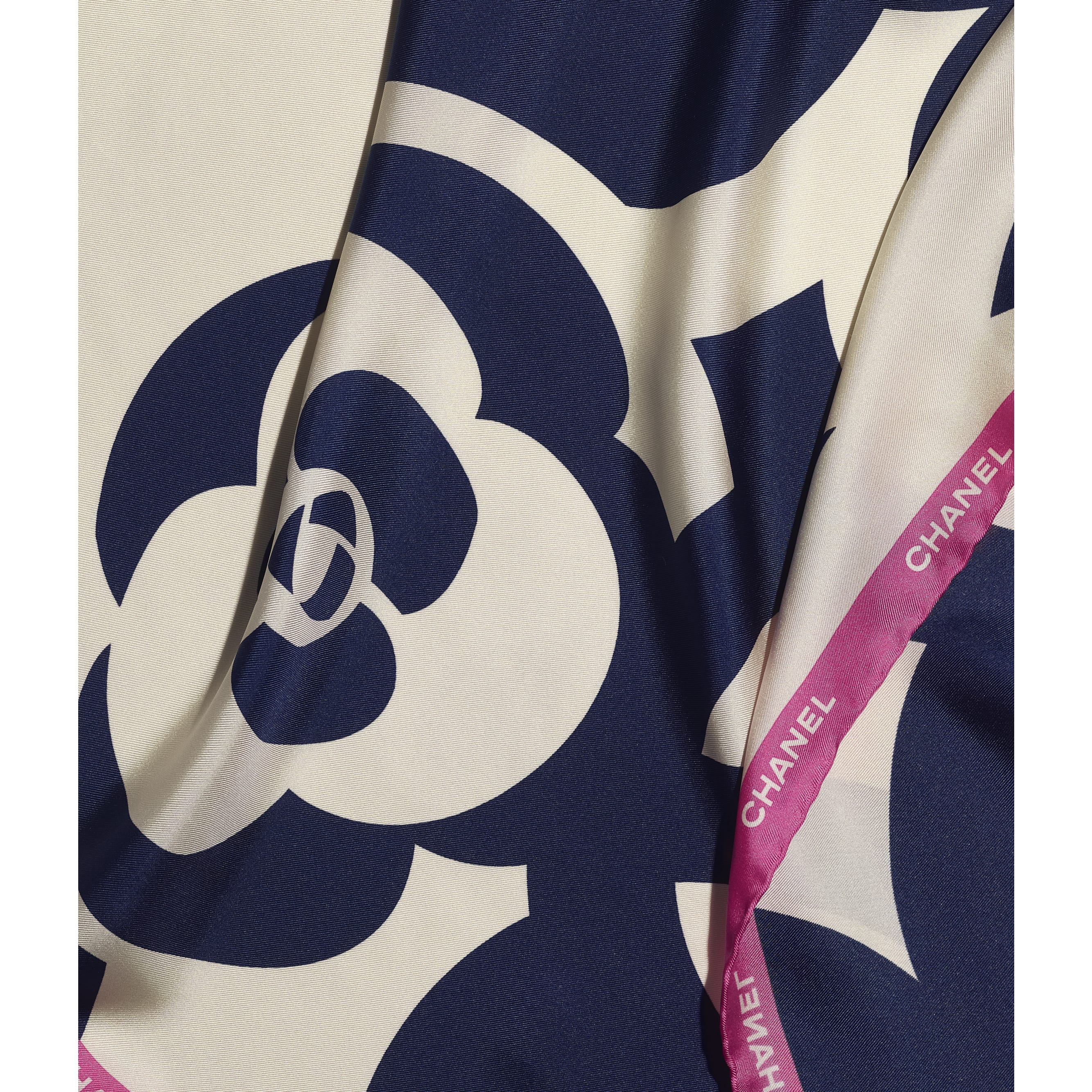 Square Scarf - Ivory, Navy Blue & Pink - Silk Twill - CHANEL - Default view - see standard sized version