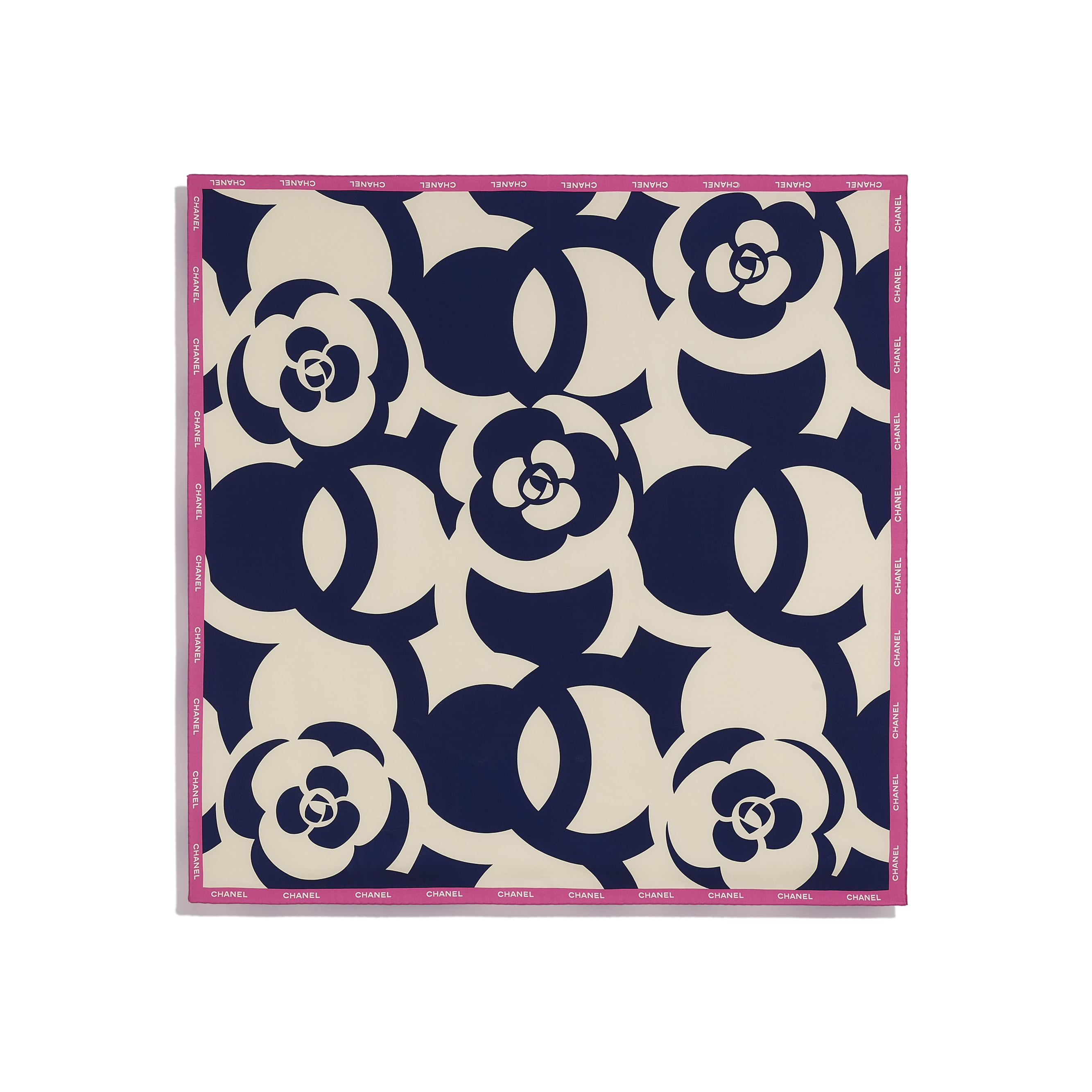 Square Scarf - Ivory, Navy Blue & Pink - Silk Twill - CHANEL - Other view - see standard sized version