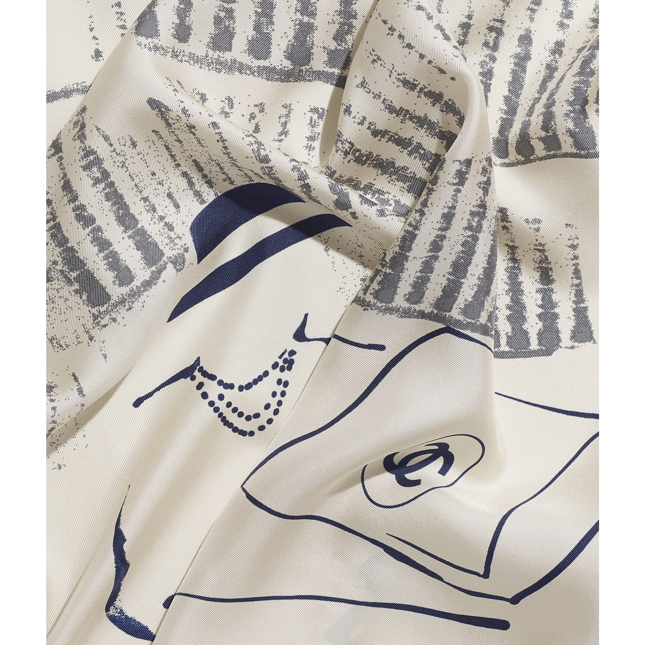 Square Scarf - Ivory & Navy Blue - Silk Twill - CHANEL - Default view - see standard sized version
