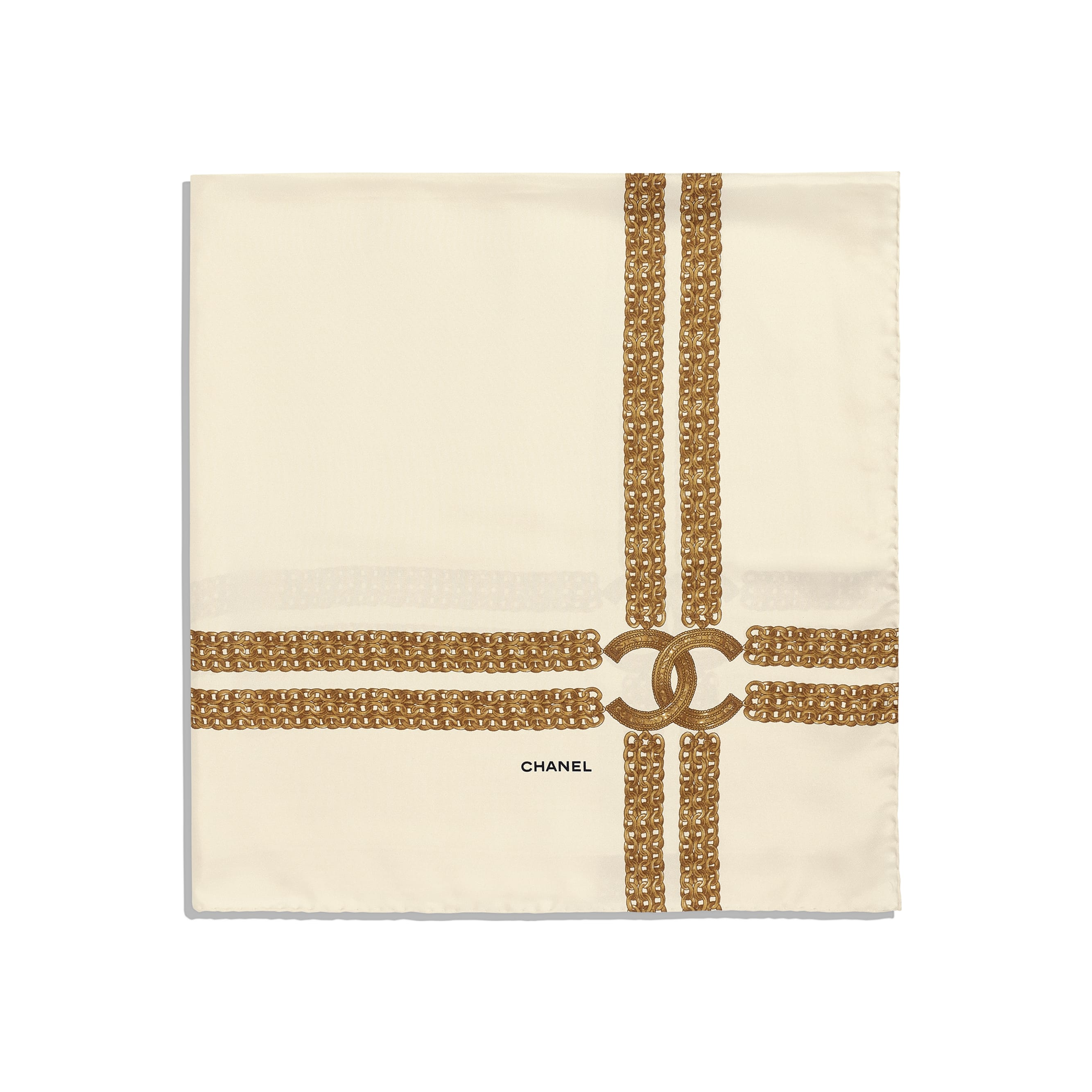 Square Scarf - Ivory - Silk Twill - CHANEL - Alternative view - see standard sized version