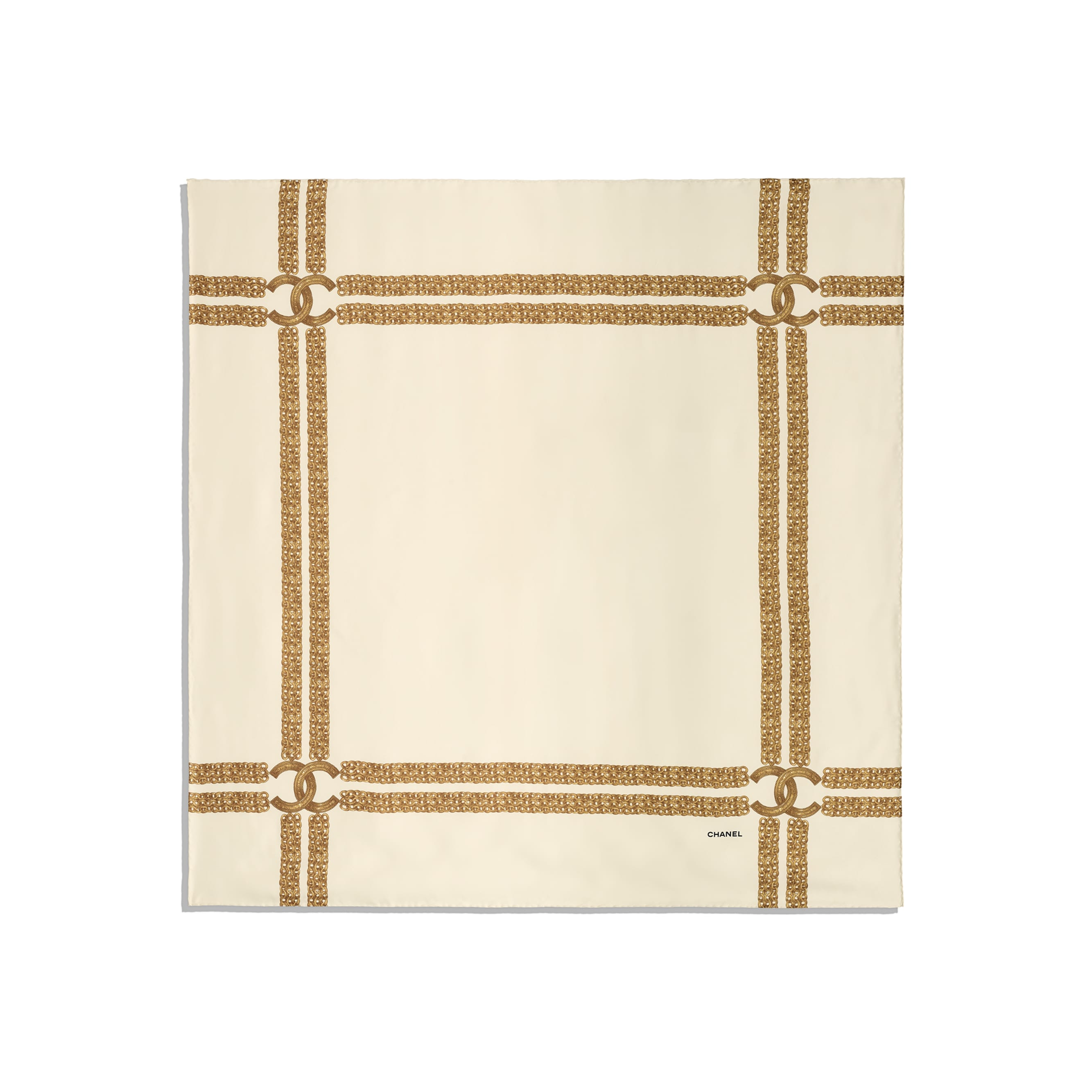 Square Scarf - Ivory - Silk Twill - CHANEL - Other view - see standard sized version