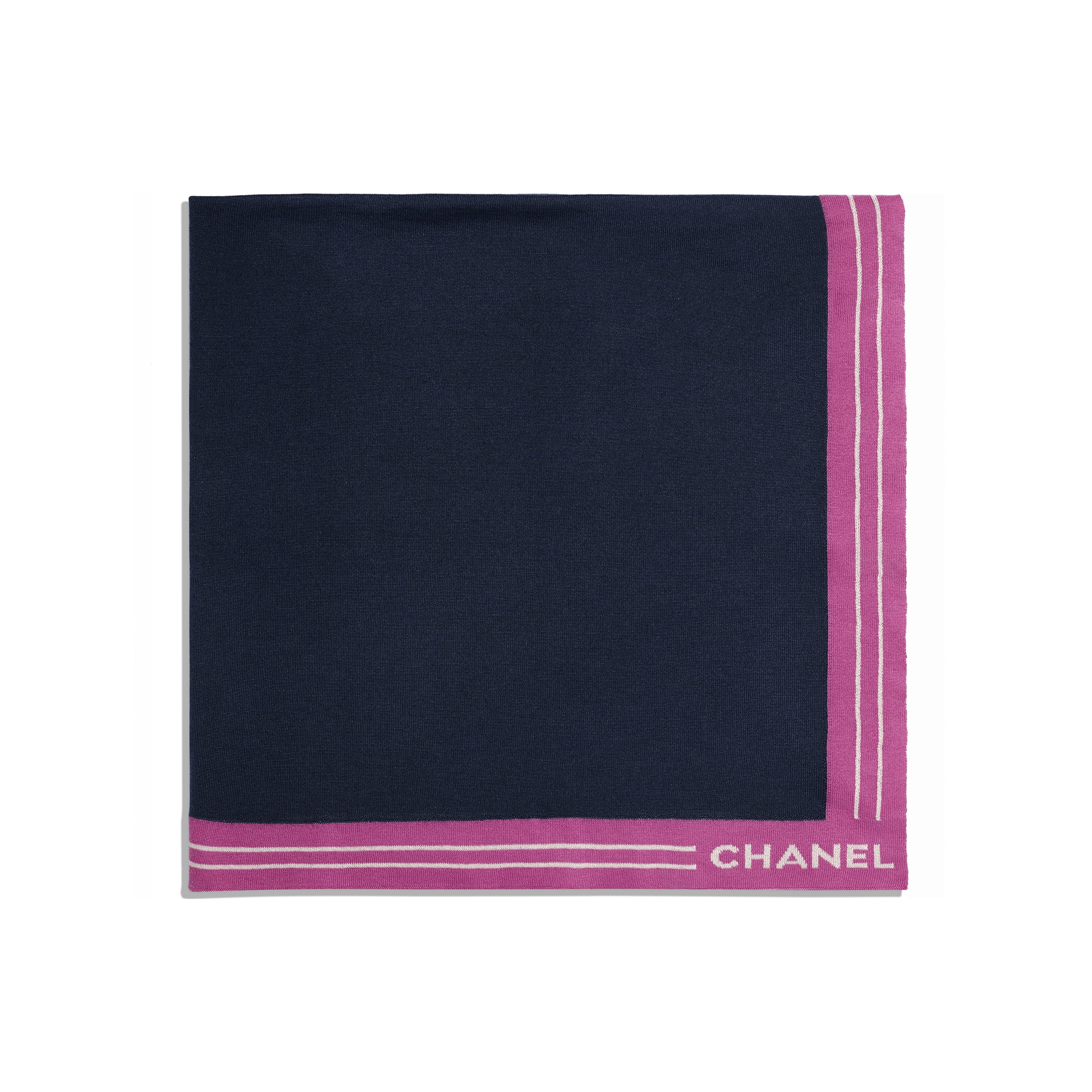 Square Scarf - Navy Blue - Cashmere, Cotton & Silk - Alternative view - see standard sized version