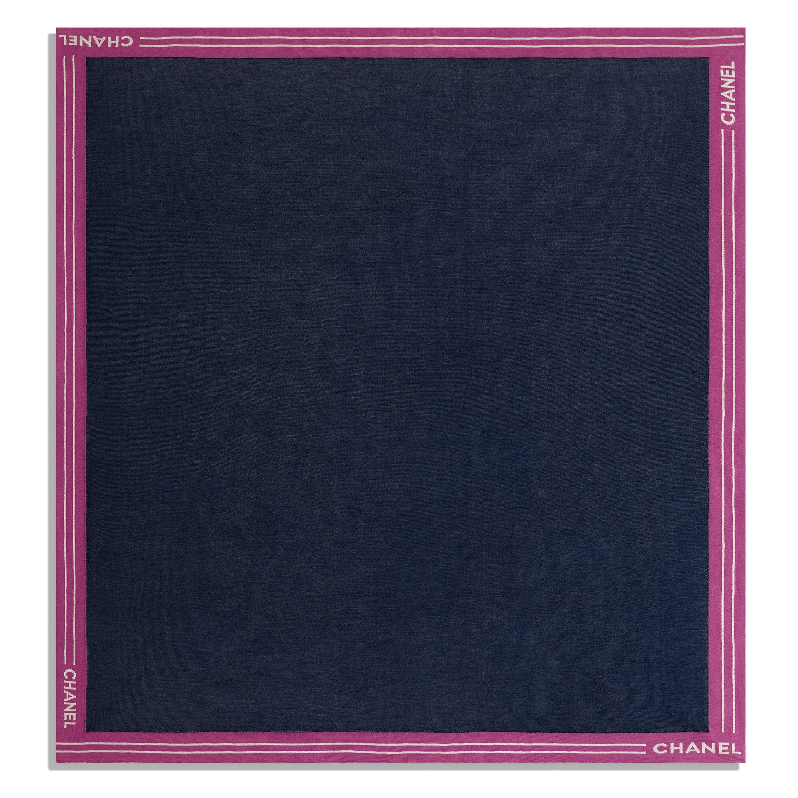 Square Scarf - Navy Blue - Cashmere, Cotton & Silk - Other view - see standard sized version