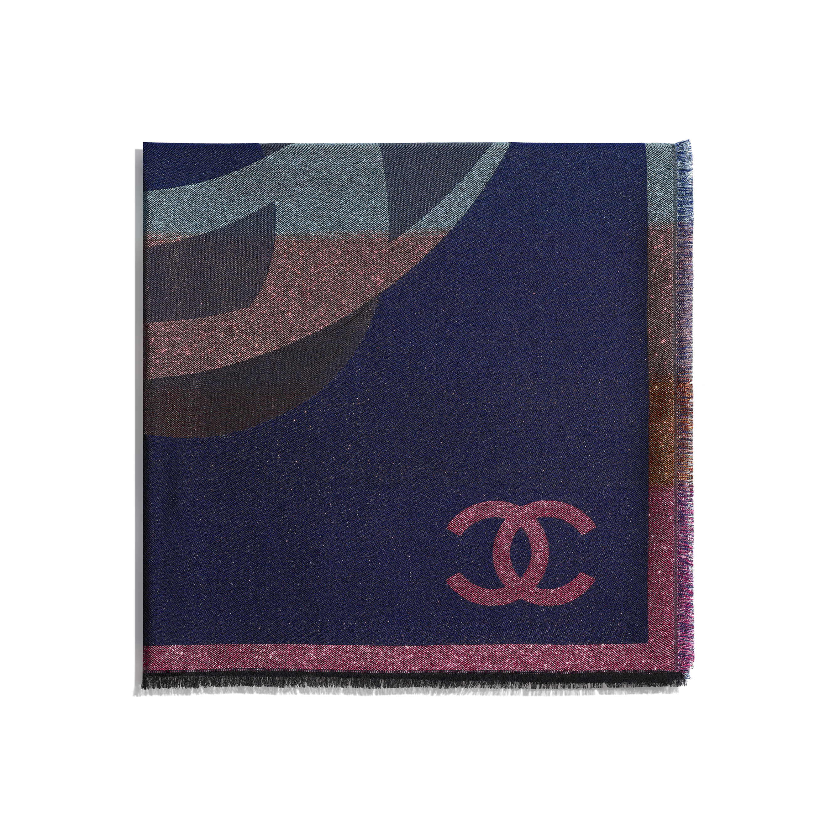Square Scarf - Navy Blue & Multicolour - Cashmere, Silk & Metallic Fibers - CHANEL - Alternative view - see standard sized version
