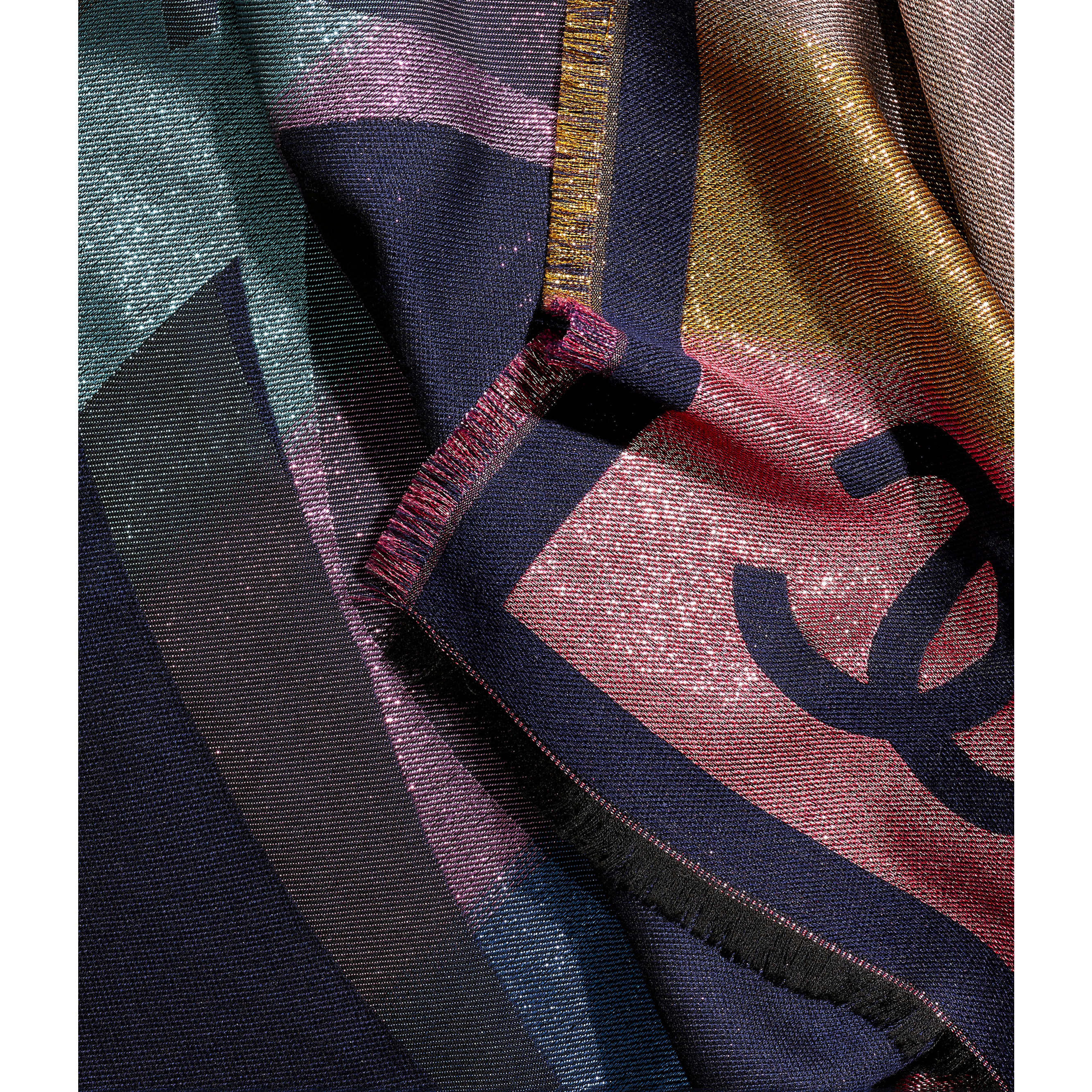 Lenço Quadrado - Navy Blue & Multicolor - Cashmere, Silk & Metallic Fibers - CHANEL - Vista predefinida - ver a versão em tamanho standard