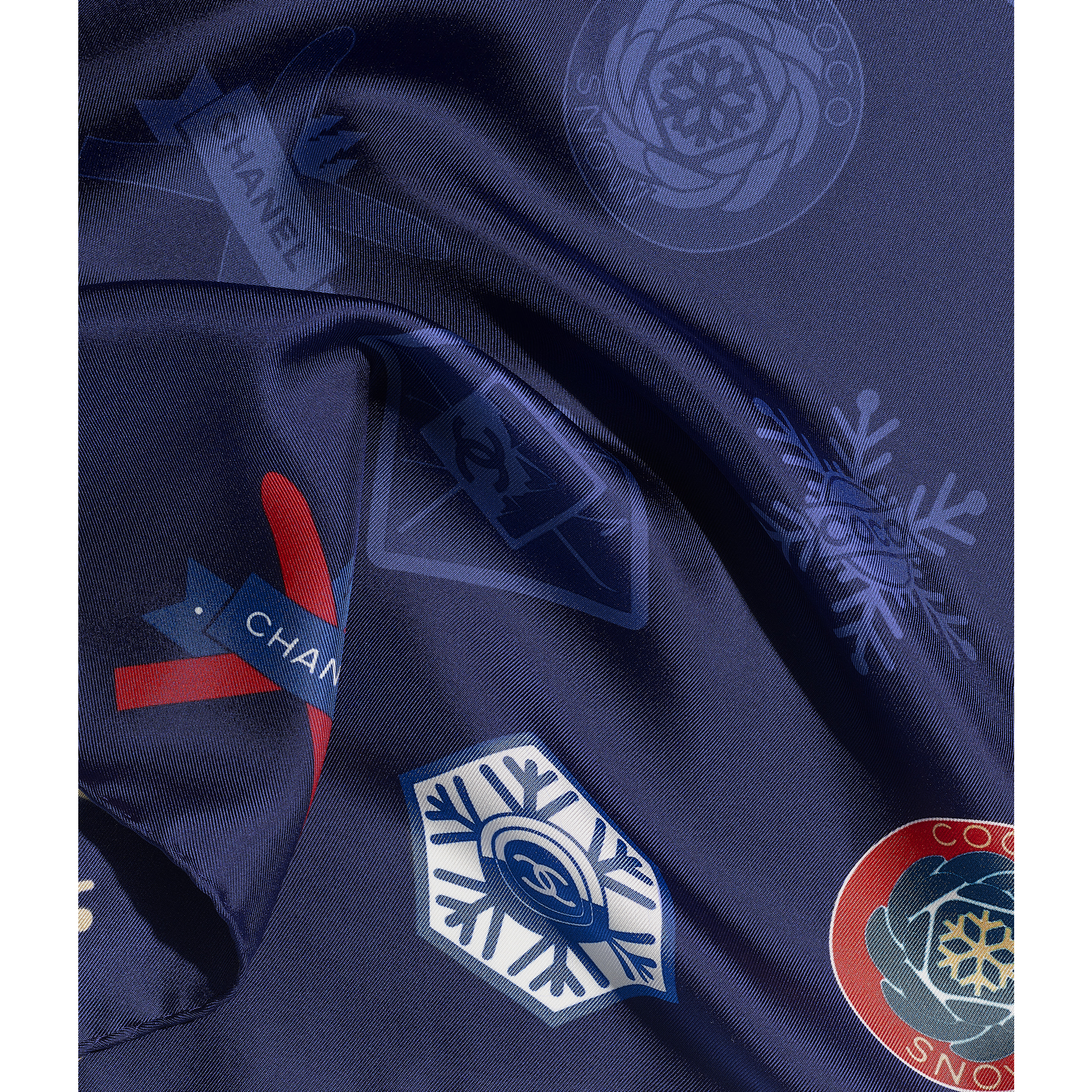 Square Scarf - Navy Blue - Silk Twill - Default view - see standard sized version