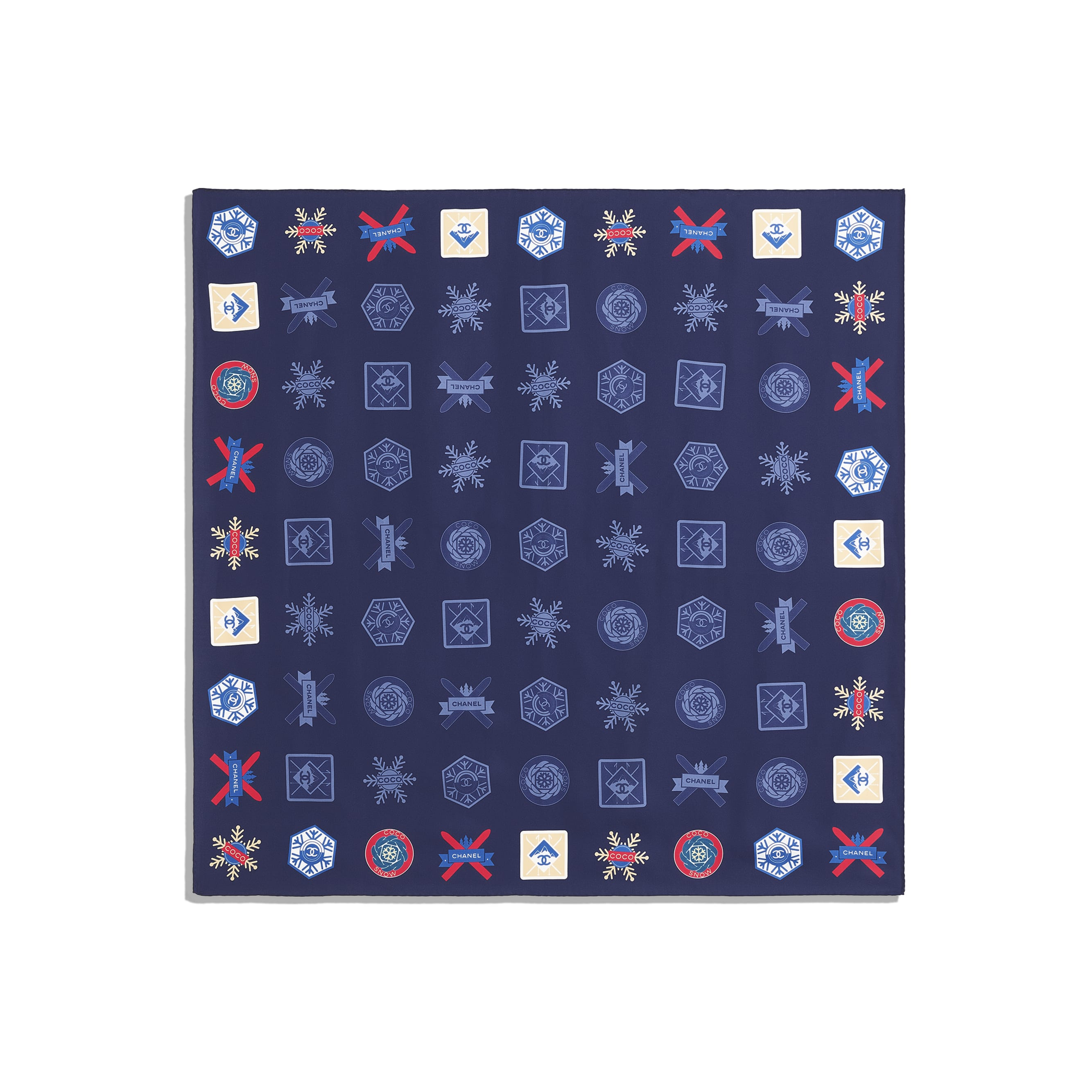 Square Scarf - Navy Blue - Silk Twill - Other view - see standard sized version