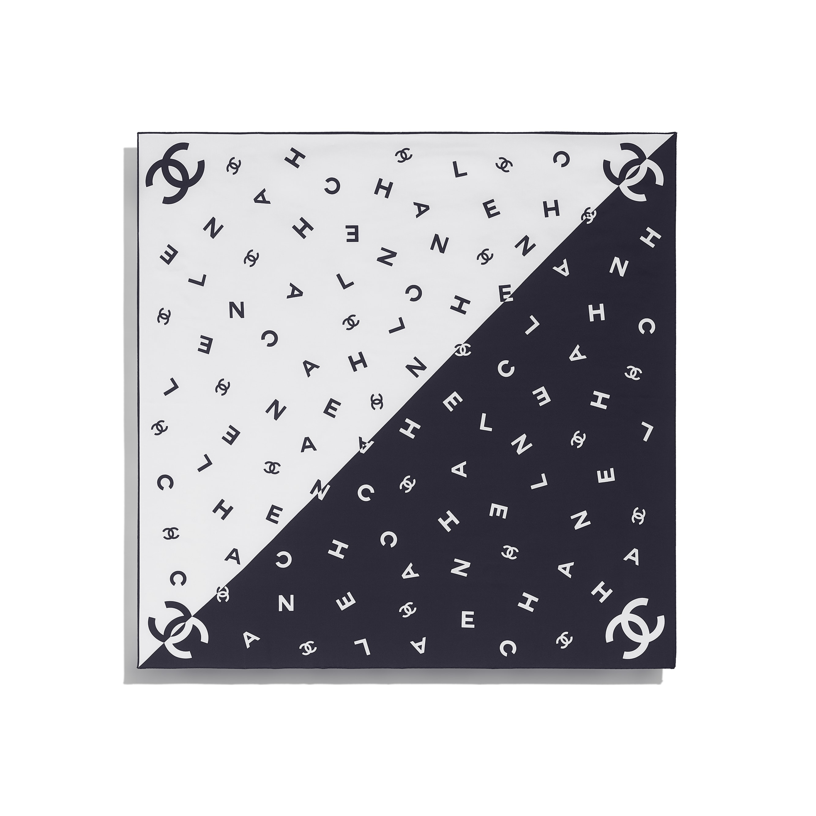 Square Scarf - Navy Blue & White - Silk Twill - CHANEL - Other view - see standard sized version