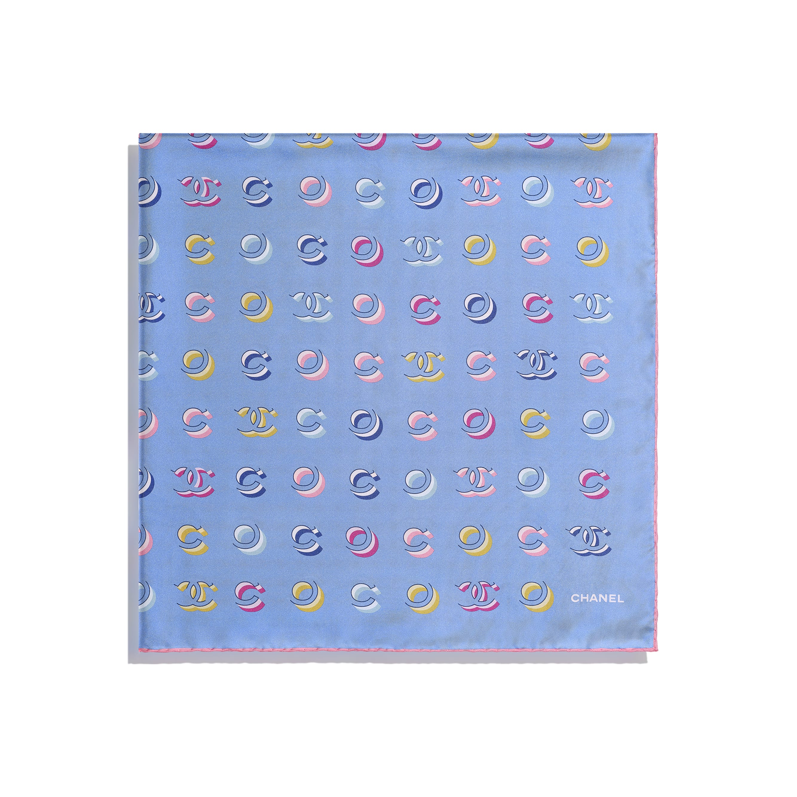 Square Scarf - Pale Pink & Blue - Silk Twill - CHANEL - Alternative view - see standard sized version
