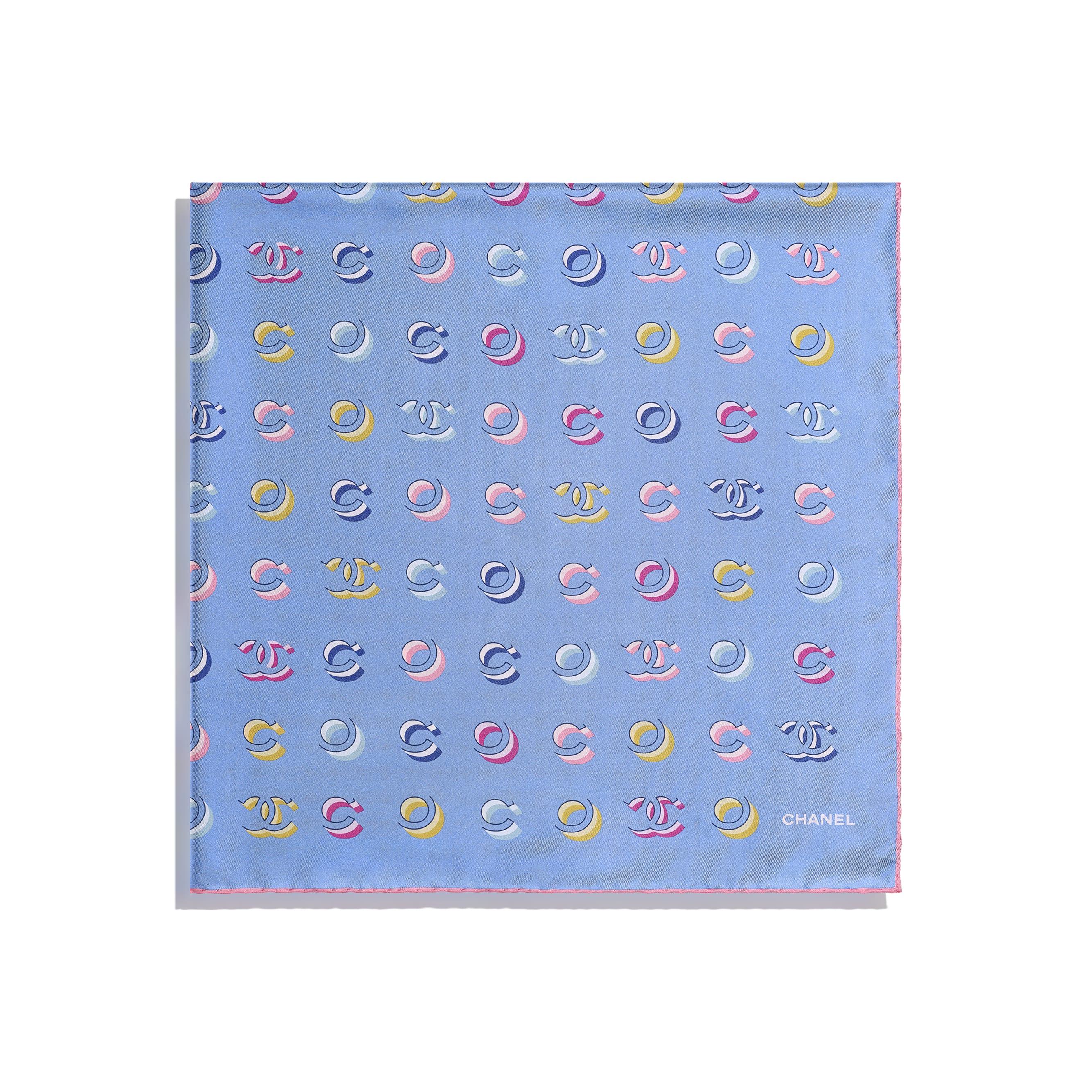 Foulard - Rosa pallido & blu - Twill di seta - CHANEL - Immagine diversa - vedere versione standard